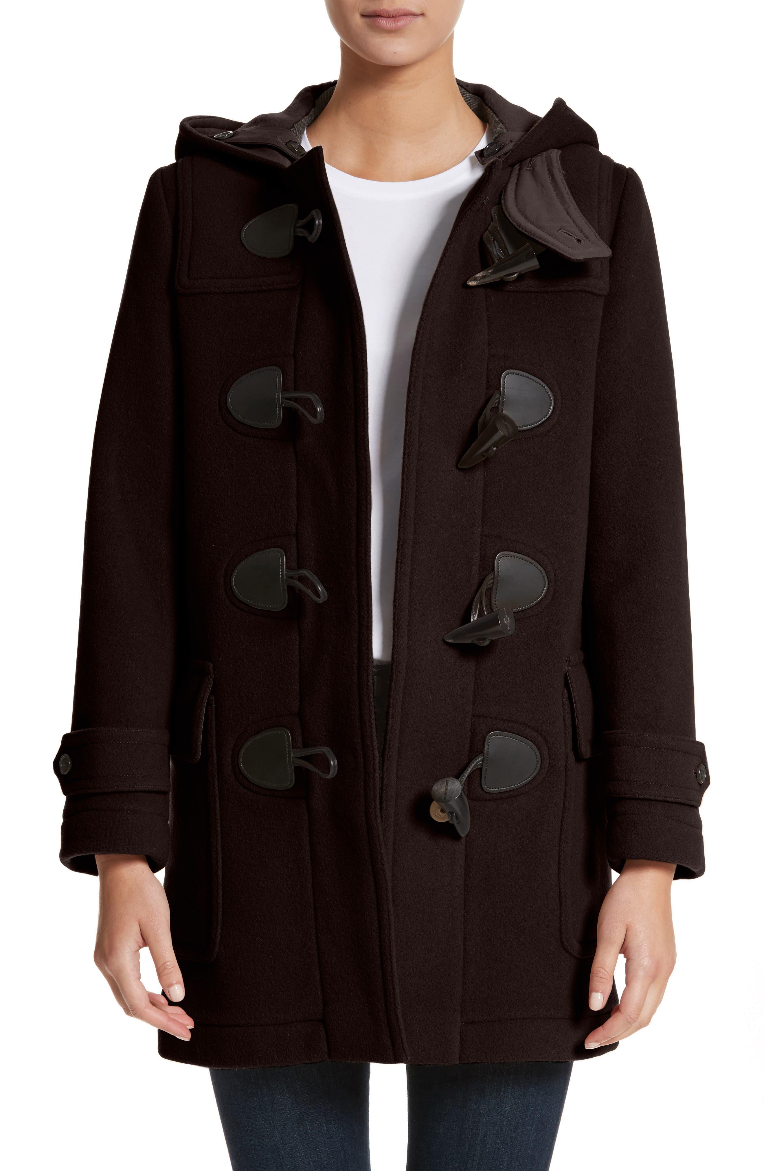 Mersey Wool Blend Duffle Coat,                             Main thumbnail 1, color,                             001