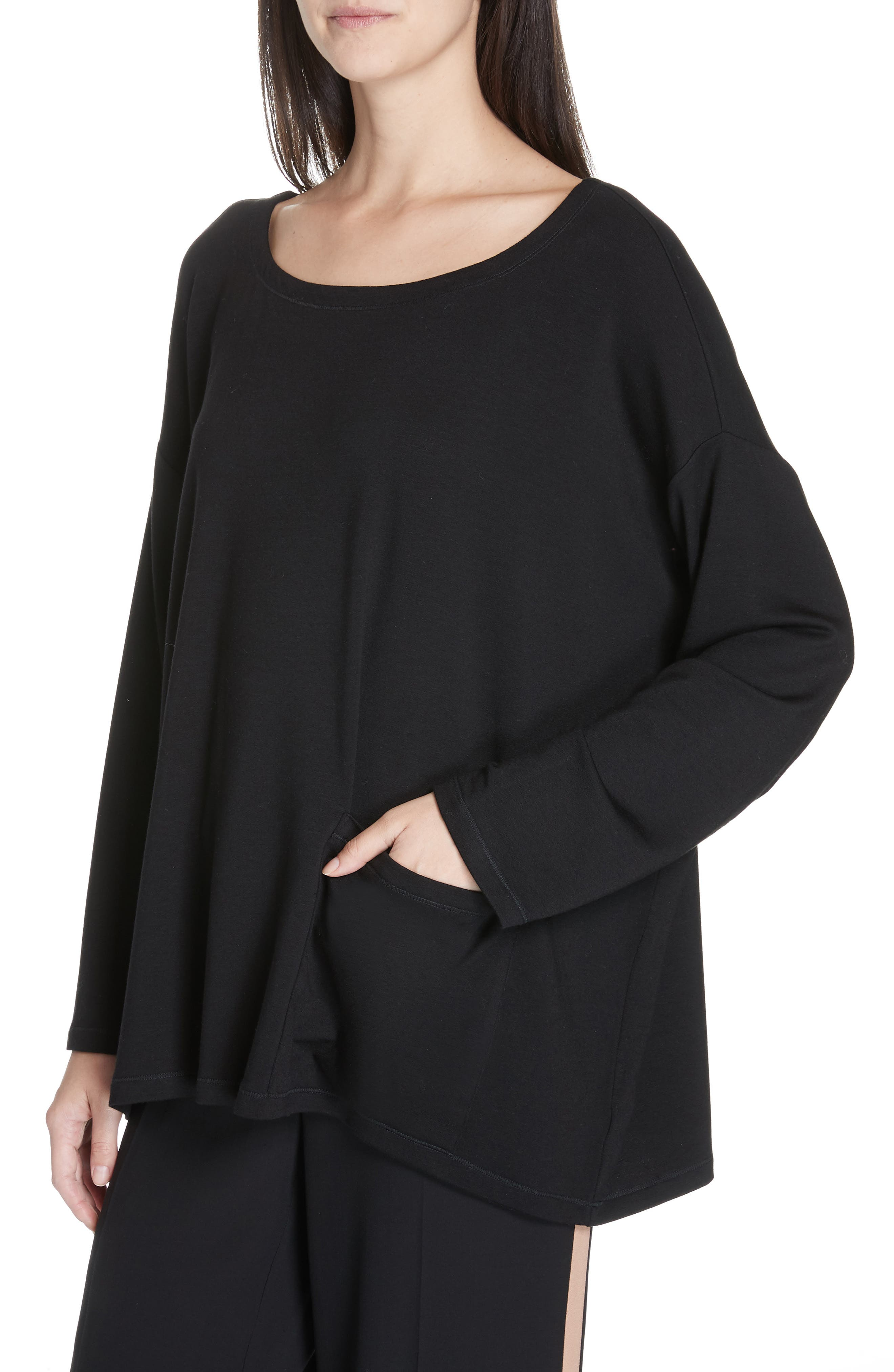 EILEEN FISHER, Stretch Terry Top, Alternate thumbnail 4, color, BLACK