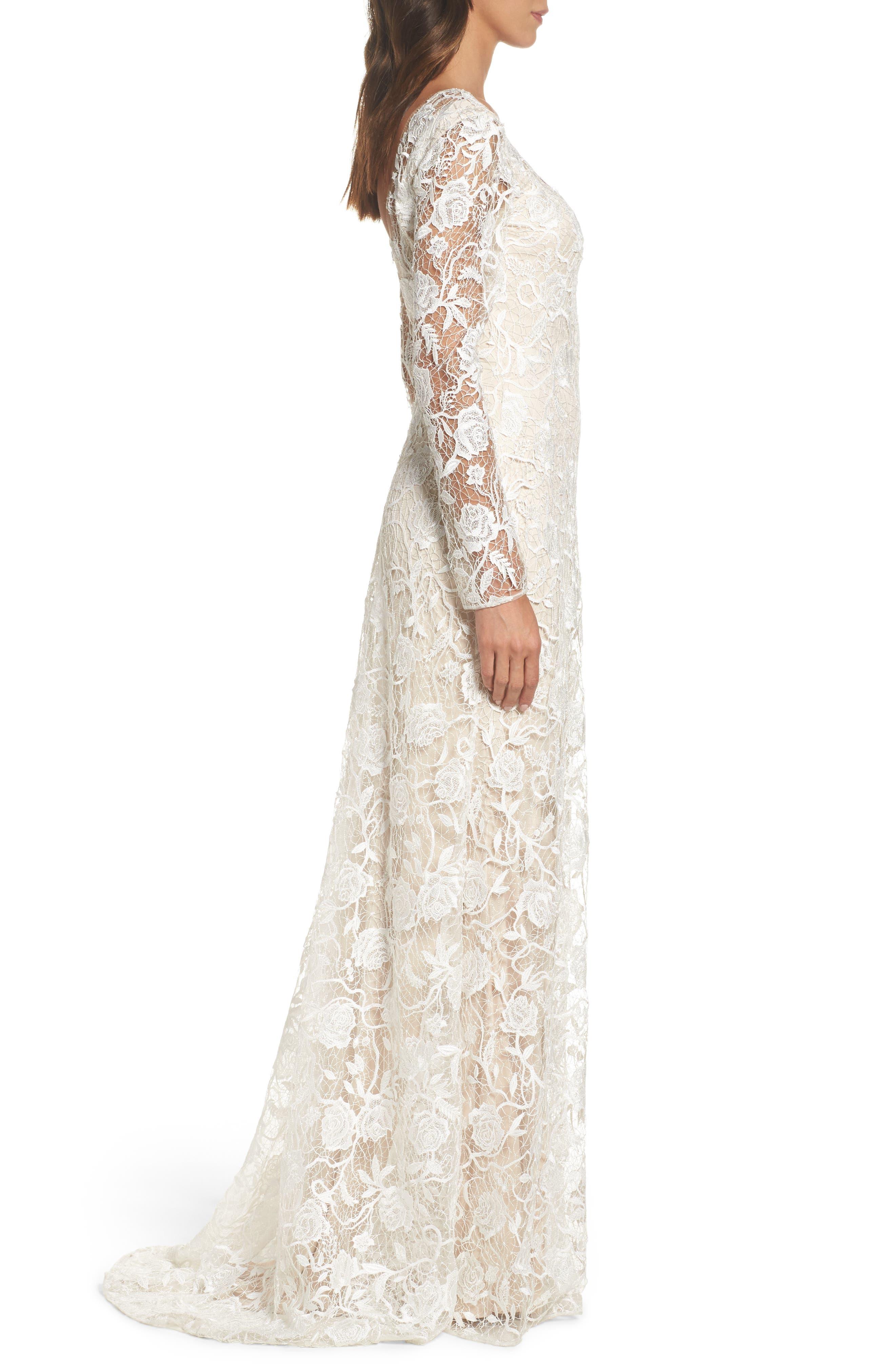 Long Sleeve A-Line Sheath Gown,                             Alternate thumbnail 3, color,                             IVORY/ PETAL
