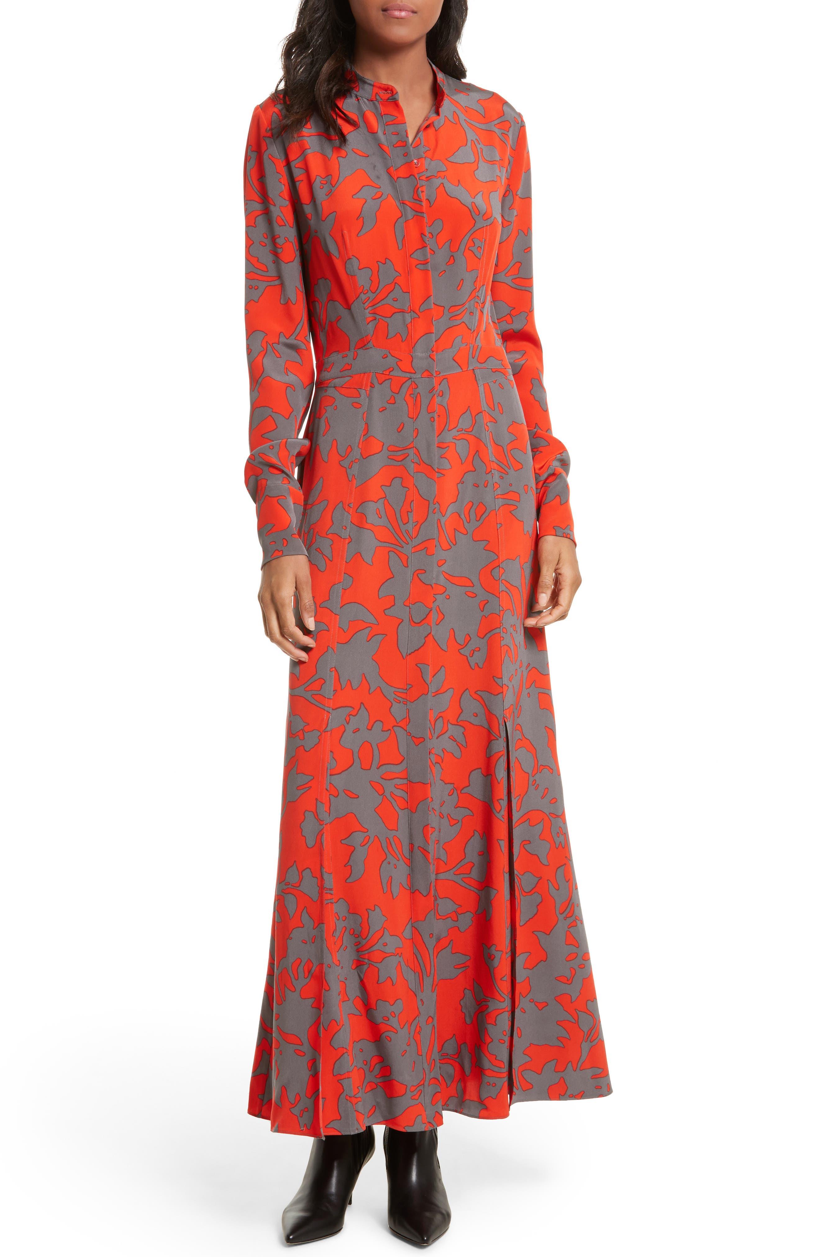 Print Silk Maxi Shirtdress,                         Main,                         color, 622