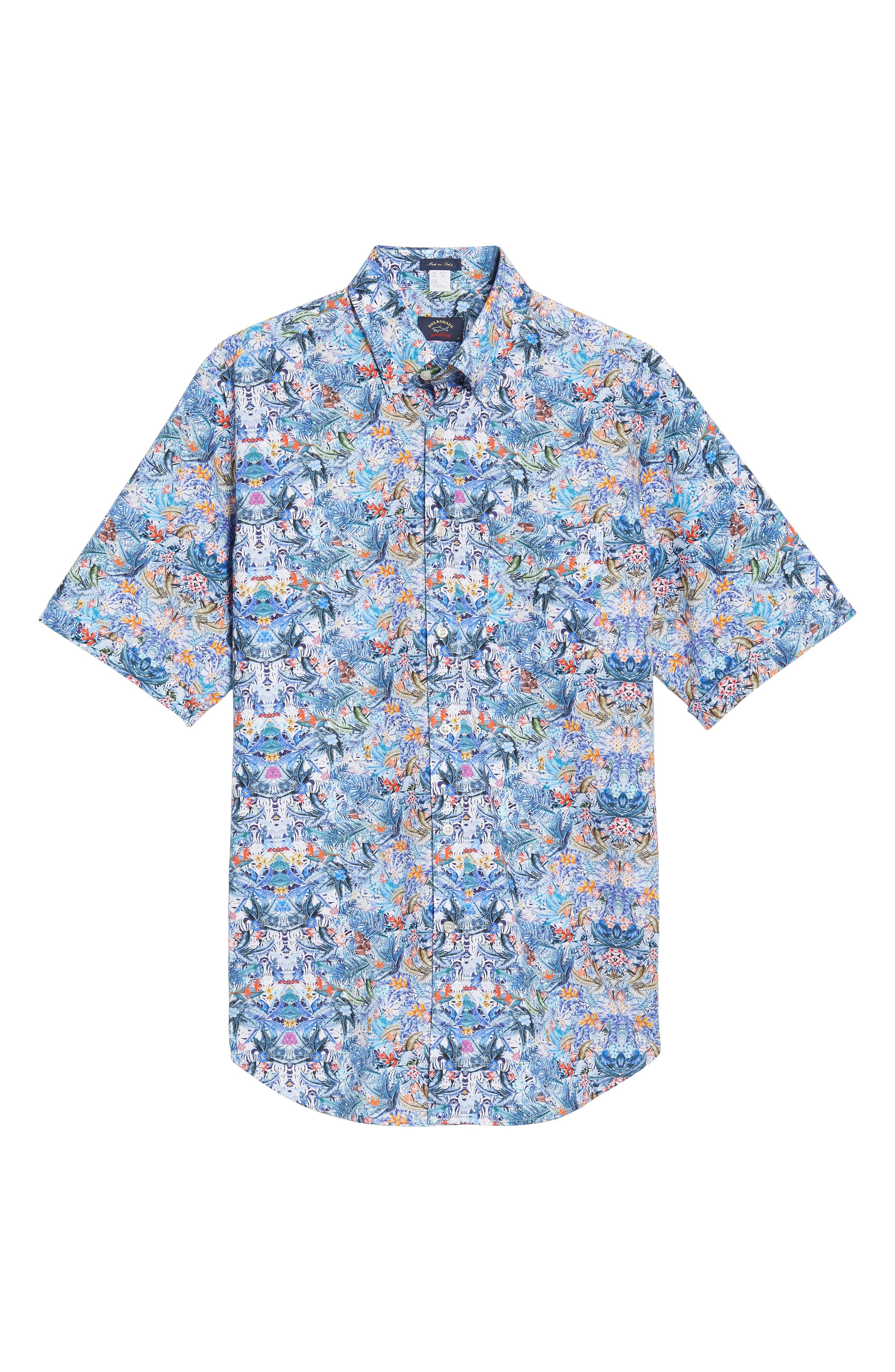 Paul&Shark Regular Fit Tropical Print Sport Shirt,                             Alternate thumbnail 6, color,                             101