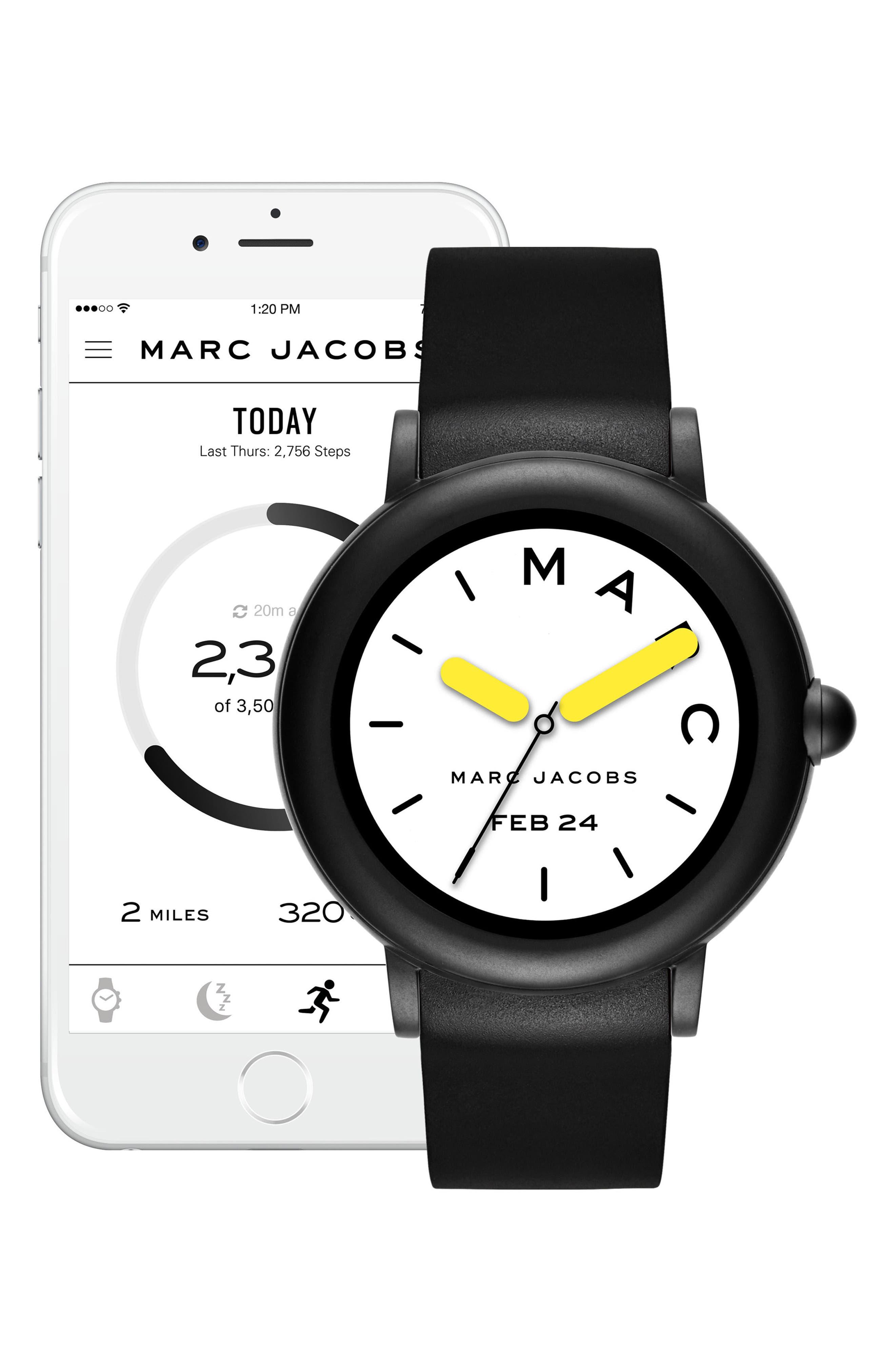Riley Silcone Strap Smart Watch, 44mm,                             Alternate thumbnail 5, color,                             BLACK/ WHITE/ BLACK