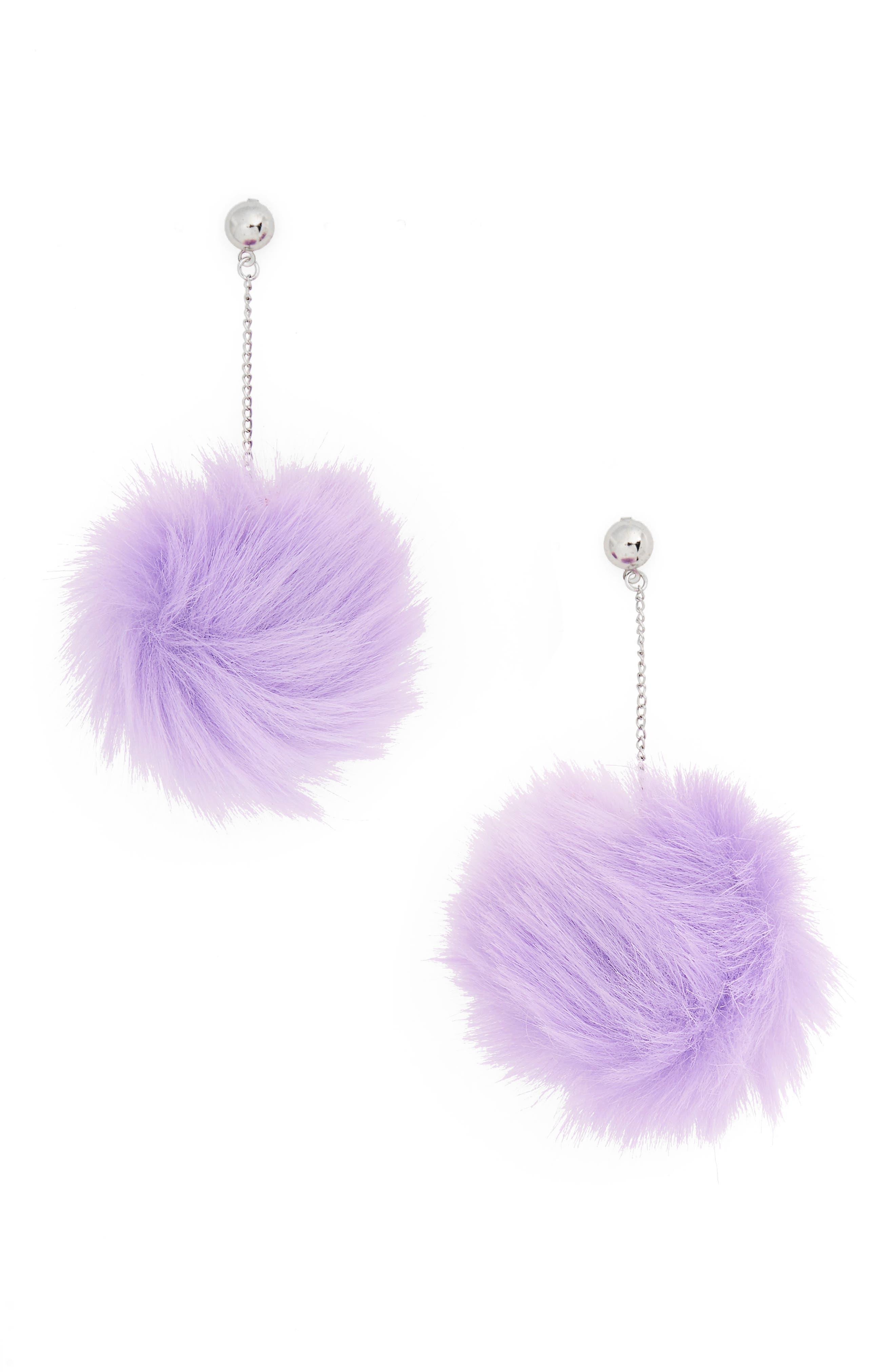 Lilac Faux Fur Drop Earrings,                         Main,                         color, 530