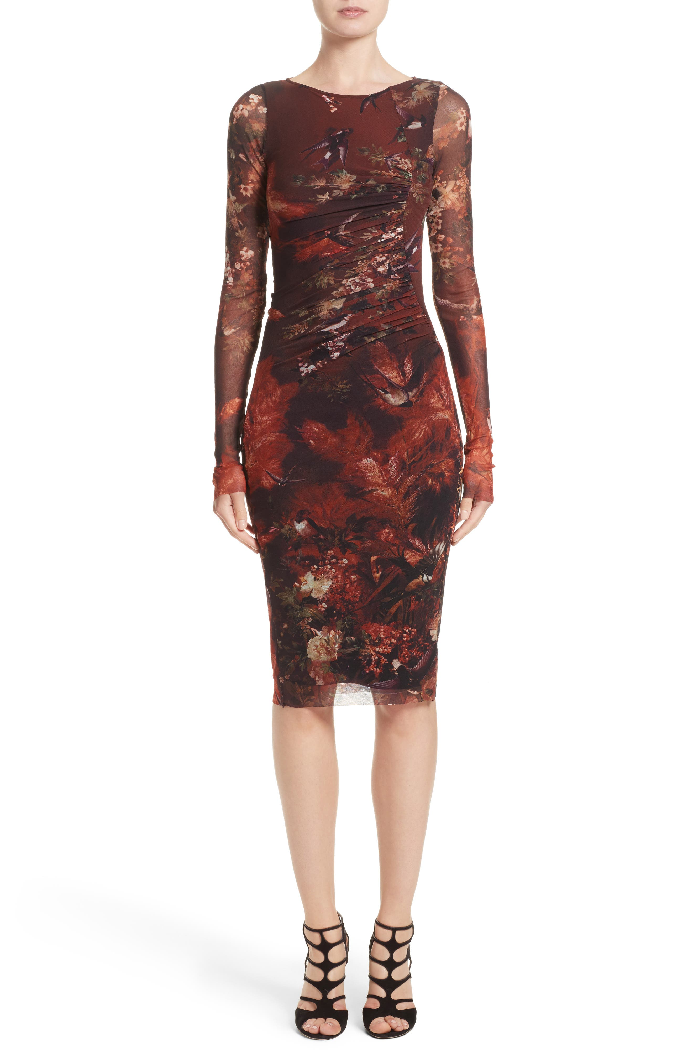 Hummingbird Print Ruched Tulle Dress,                         Main,                         color, 610