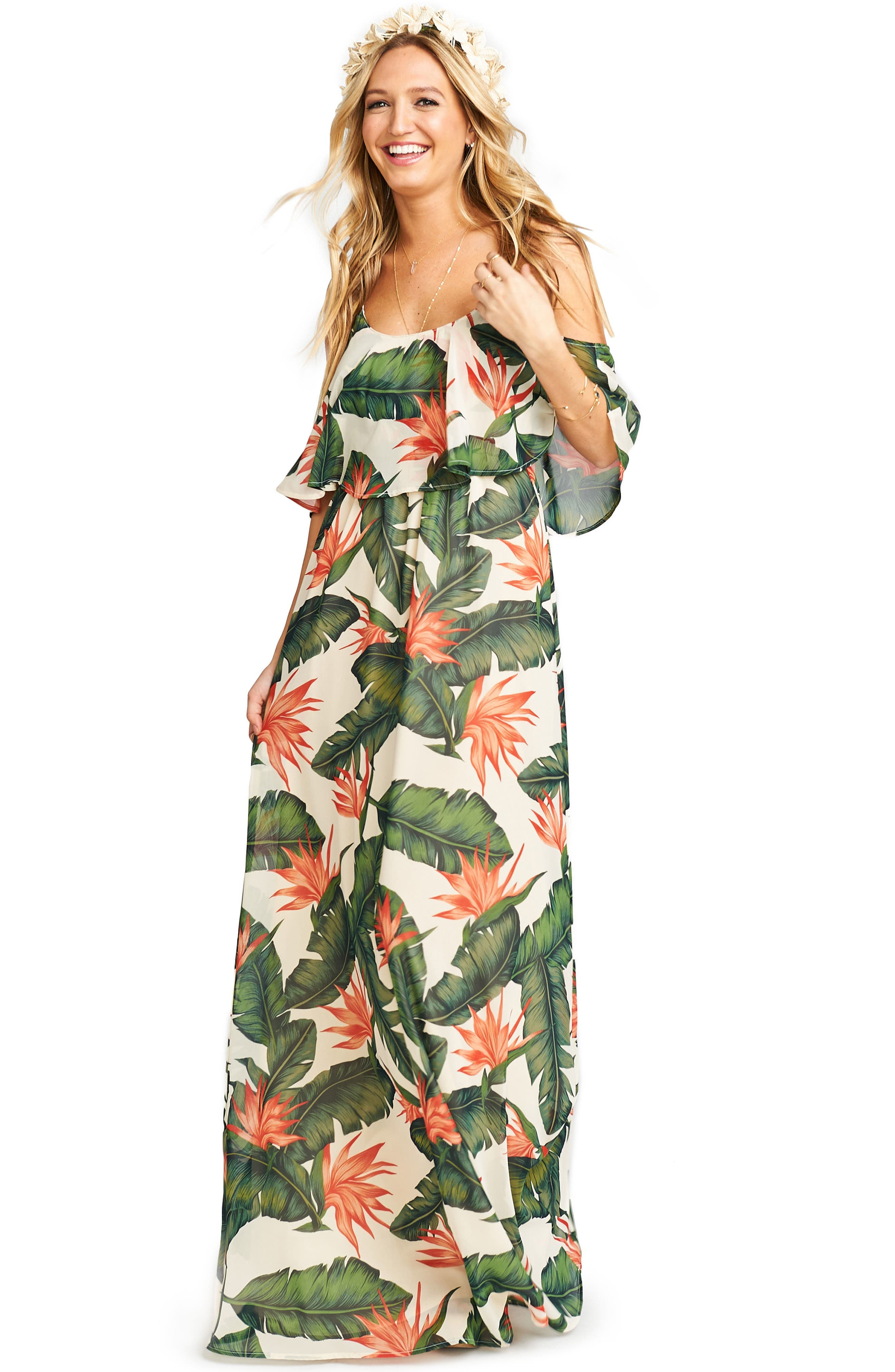 Caitlin Cold Shoulder Chiffon Gown,                             Alternate thumbnail 61, color,