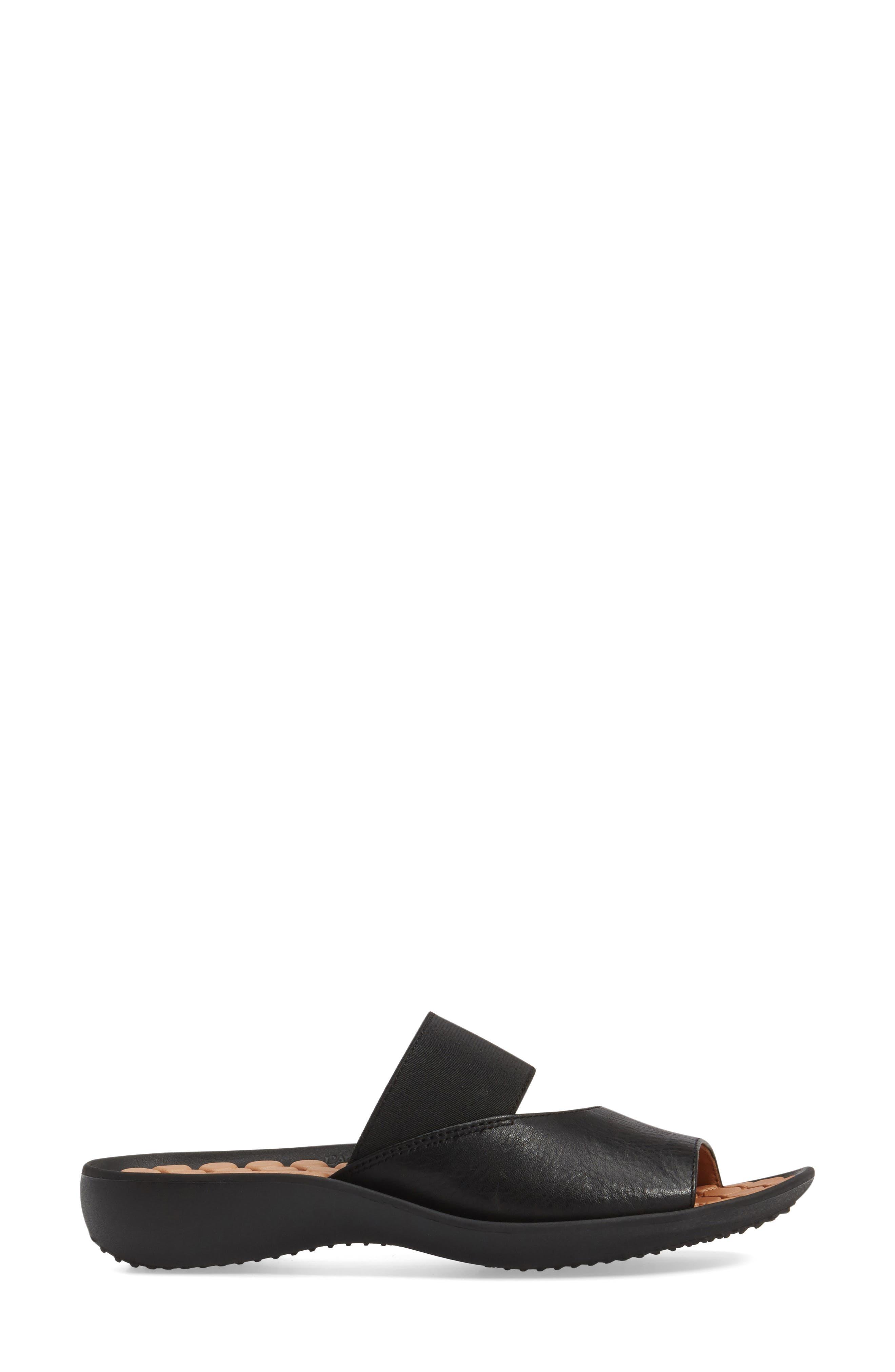 Northville Slide Sandal,                             Alternate thumbnail 3, color,                             BLACK LEATHER