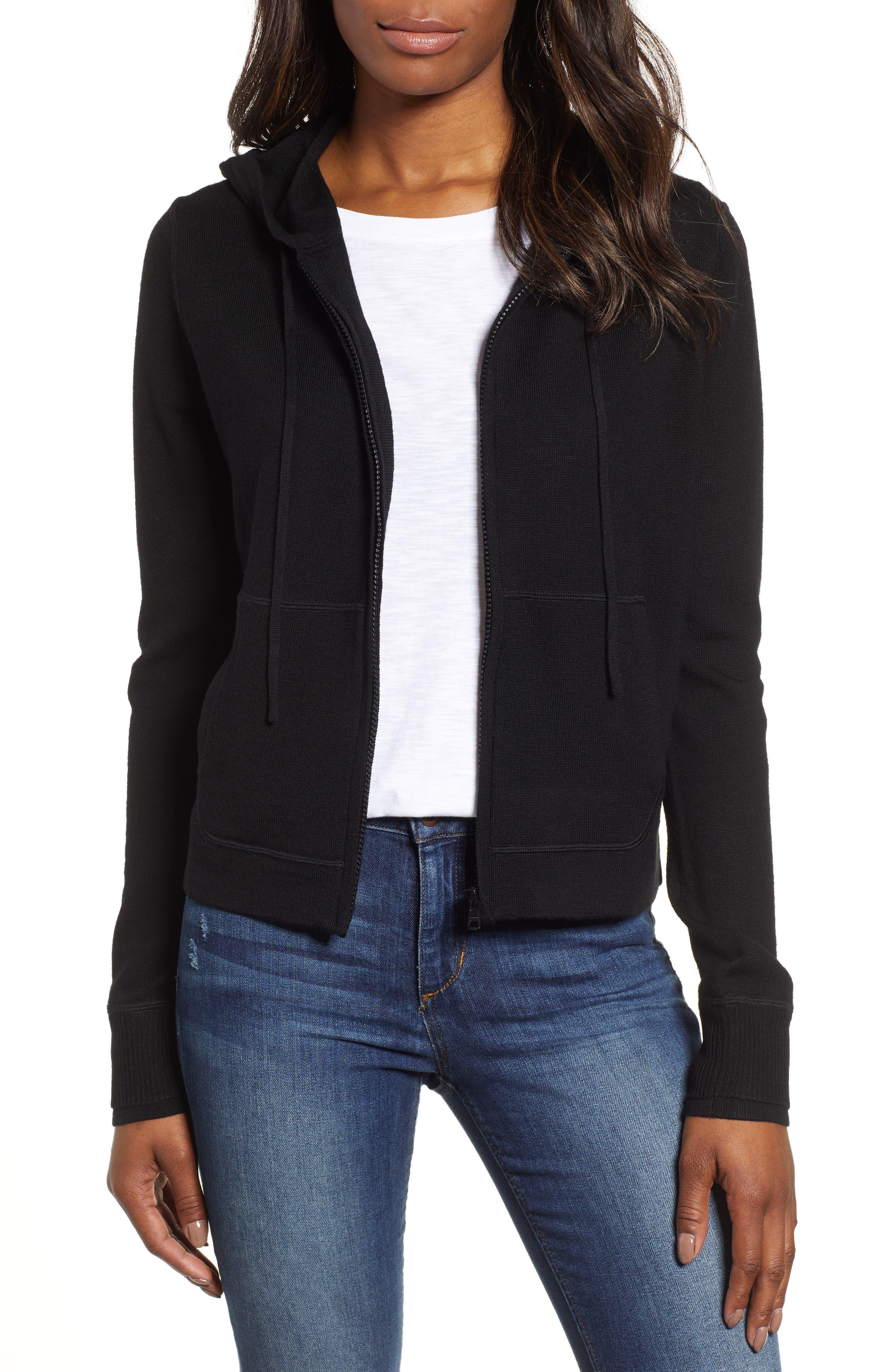 Full Zip Hoodie Wool Sweater,                         Main,                         color, JET BLACK