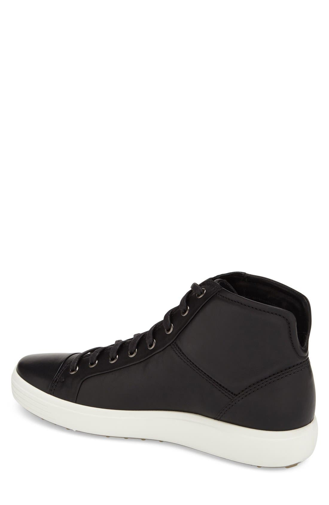 'Soft 7' High Top Sneaker,                             Alternate thumbnail 3, color,                             BLACK LEATHER