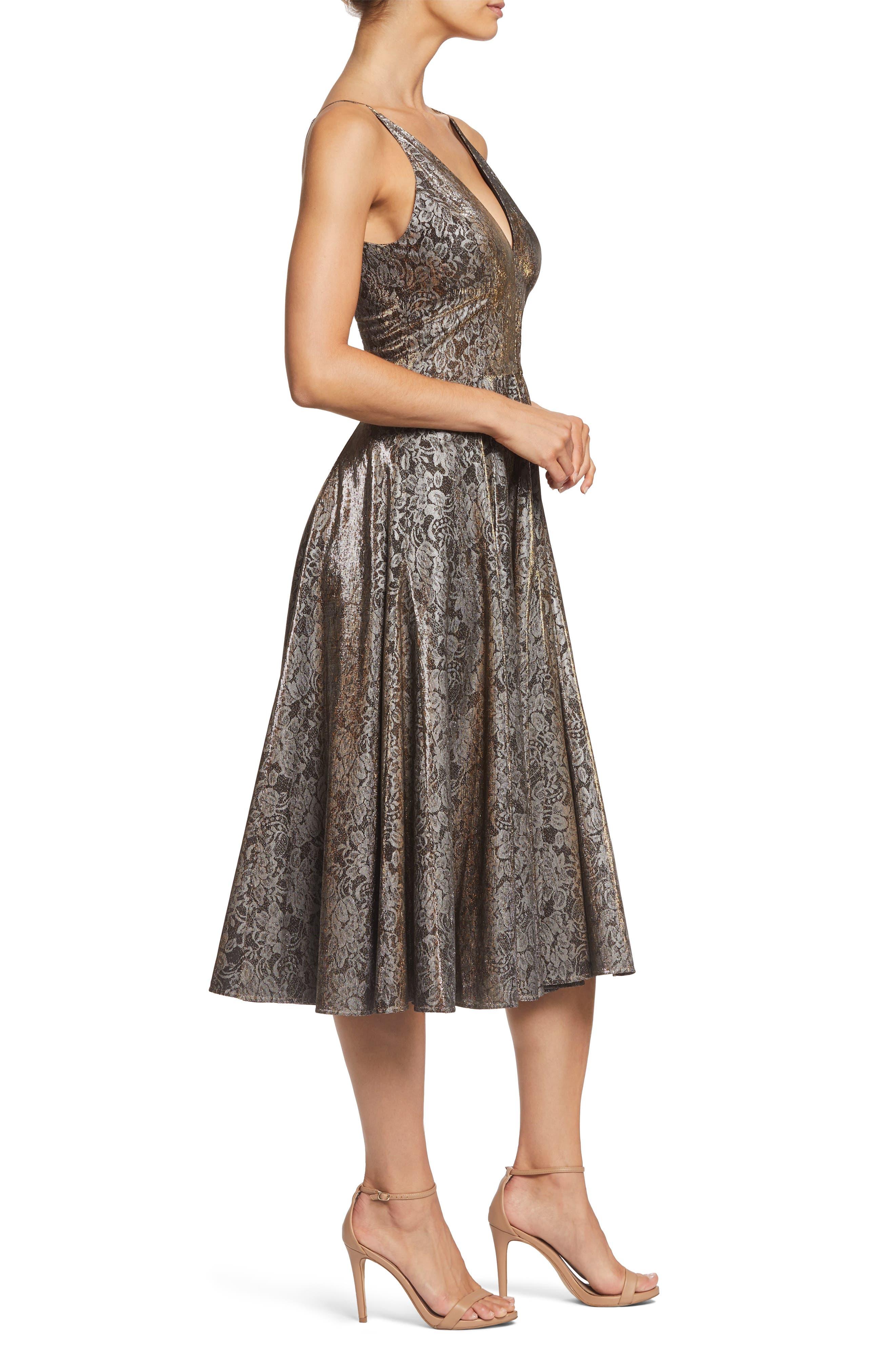 Delilah Plunging Jacquard Fit & Flare Midi Dress,                             Alternate thumbnail 3, color,                             001
