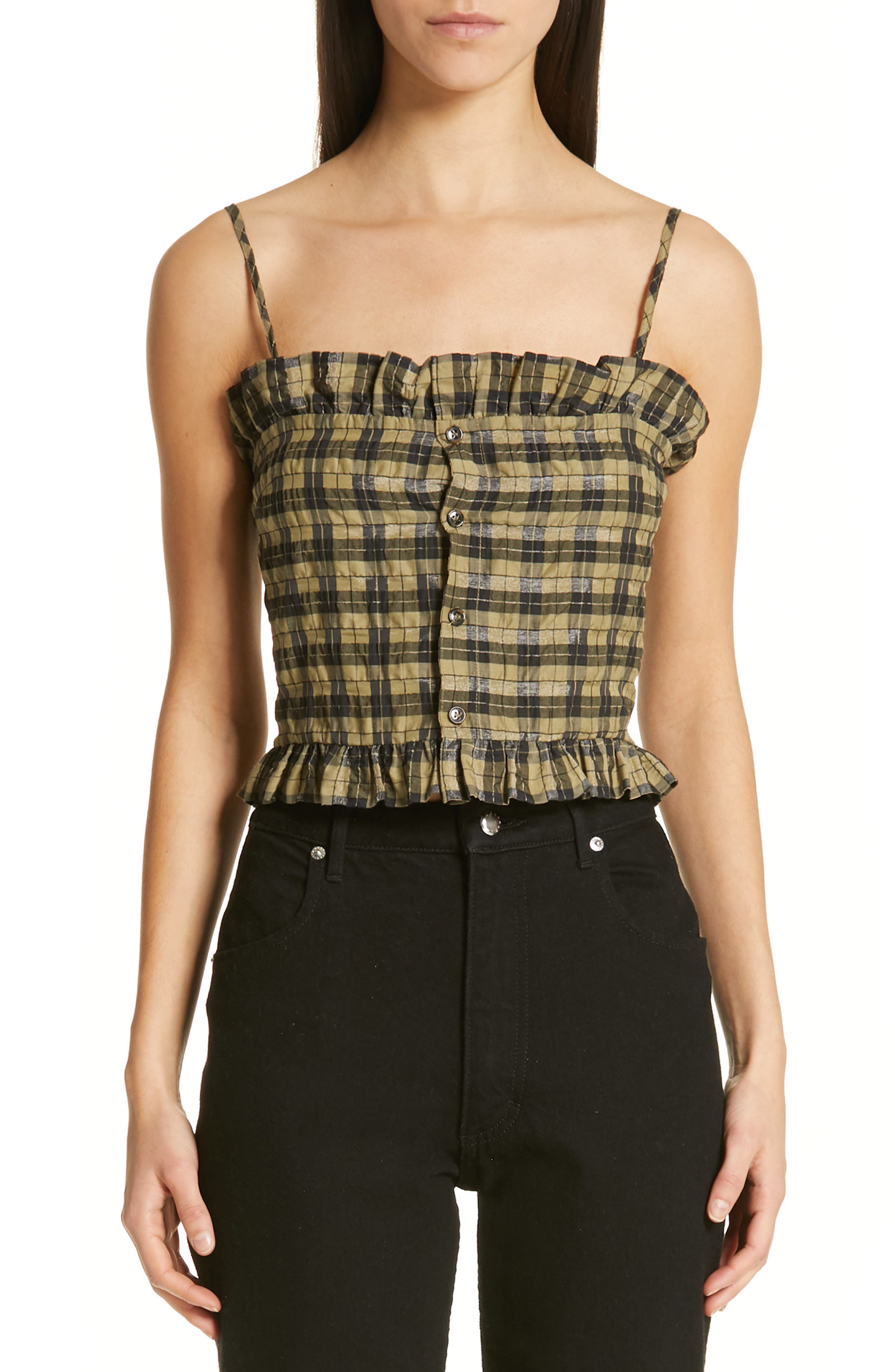 Seersucker Check Sleeveless Top, Main, color, ALOE