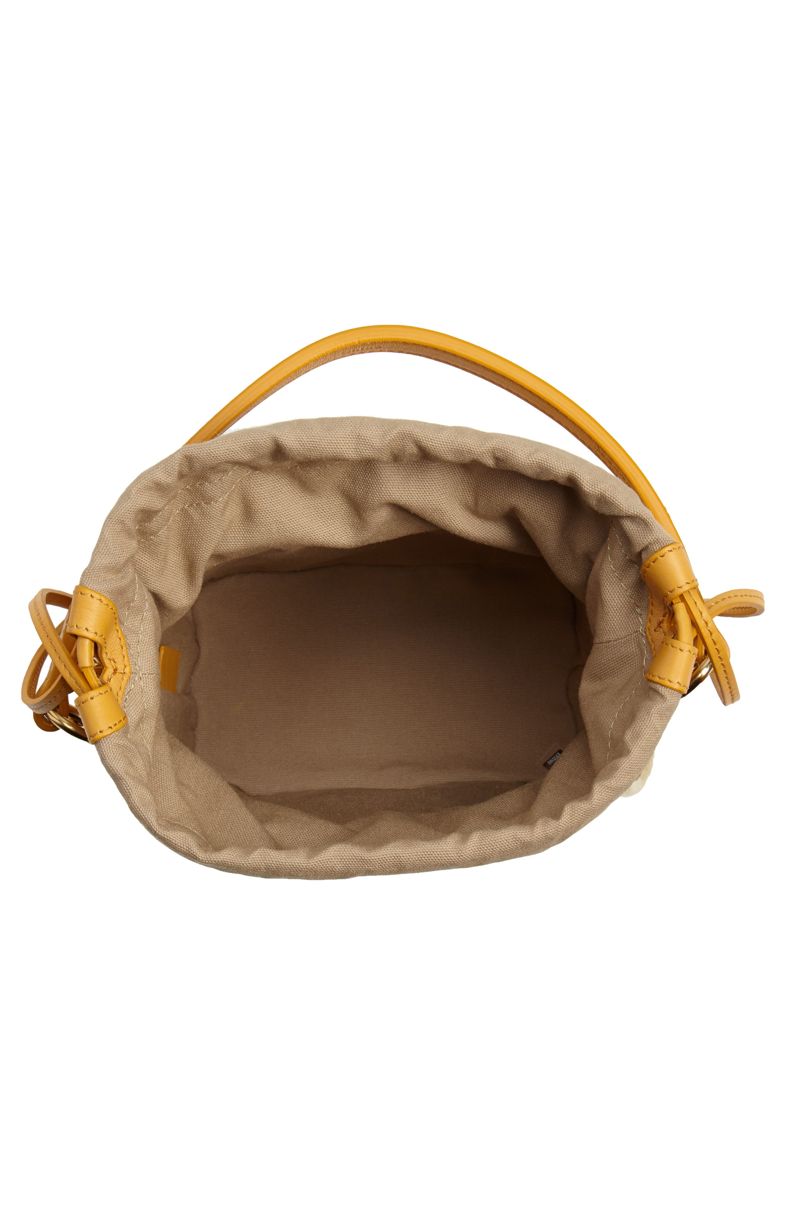 Roy Small Leather Bucket Bag,                             Alternate thumbnail 4, color,                             BURNING CAMEL