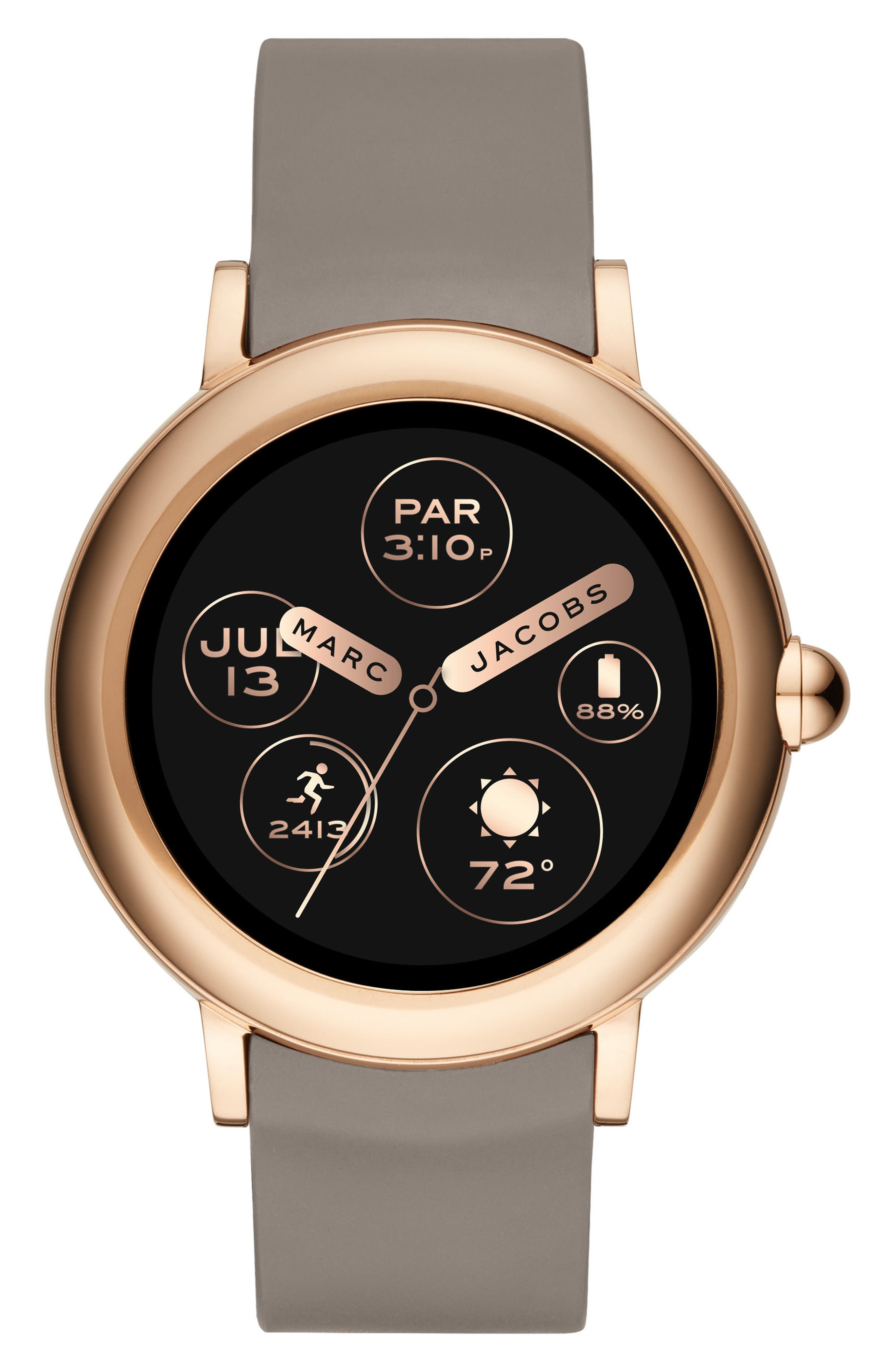 Riley Silcone Strap Smart Watch, 44mm,                         Main,                         color, TAUPE/ ROSE GOLD