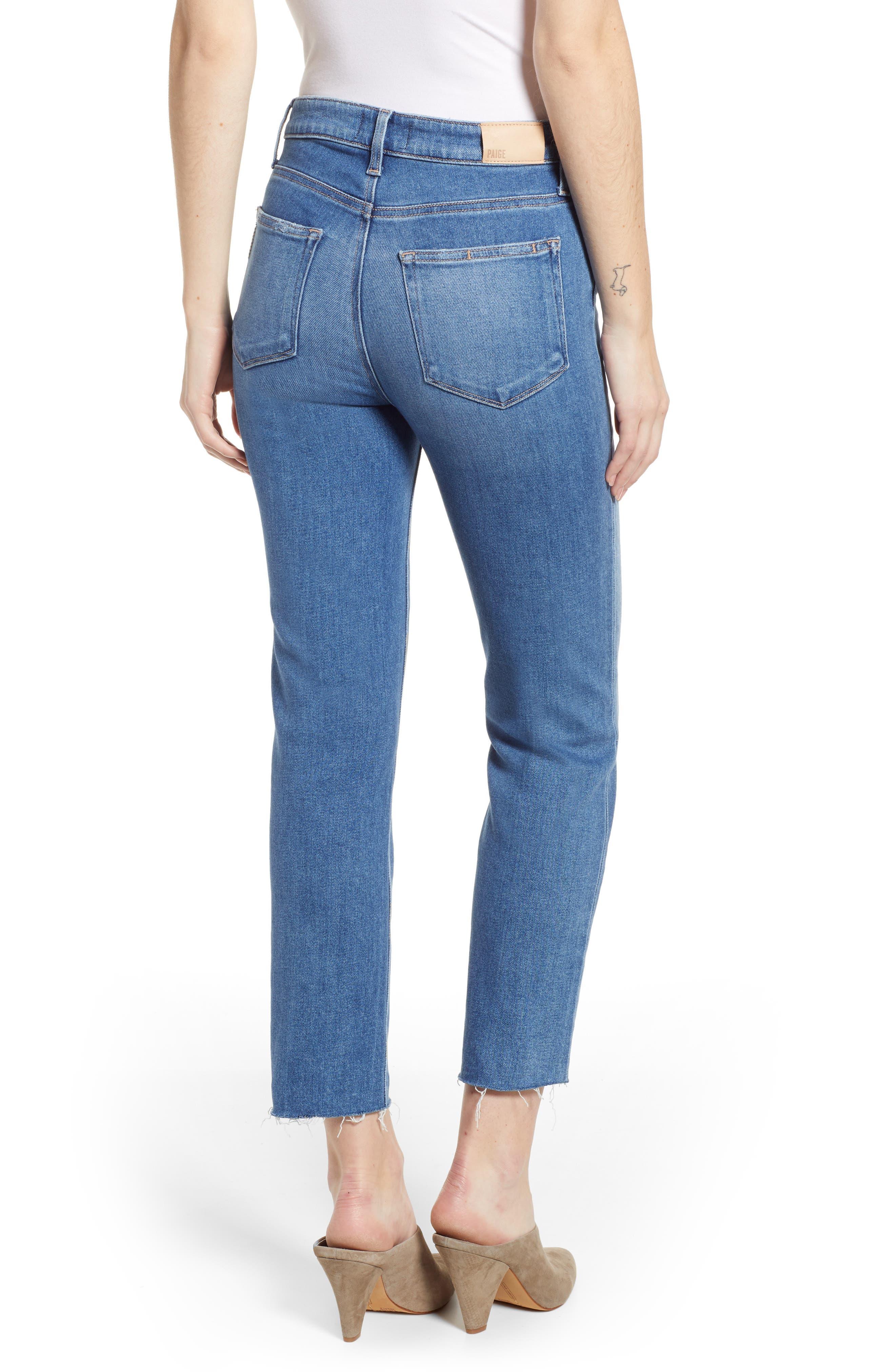 Vintage - Hoxton High Waist Raw Hem Straight Leg Jeans,                             Alternate thumbnail 2, color,                             RENZO DISTRESSED