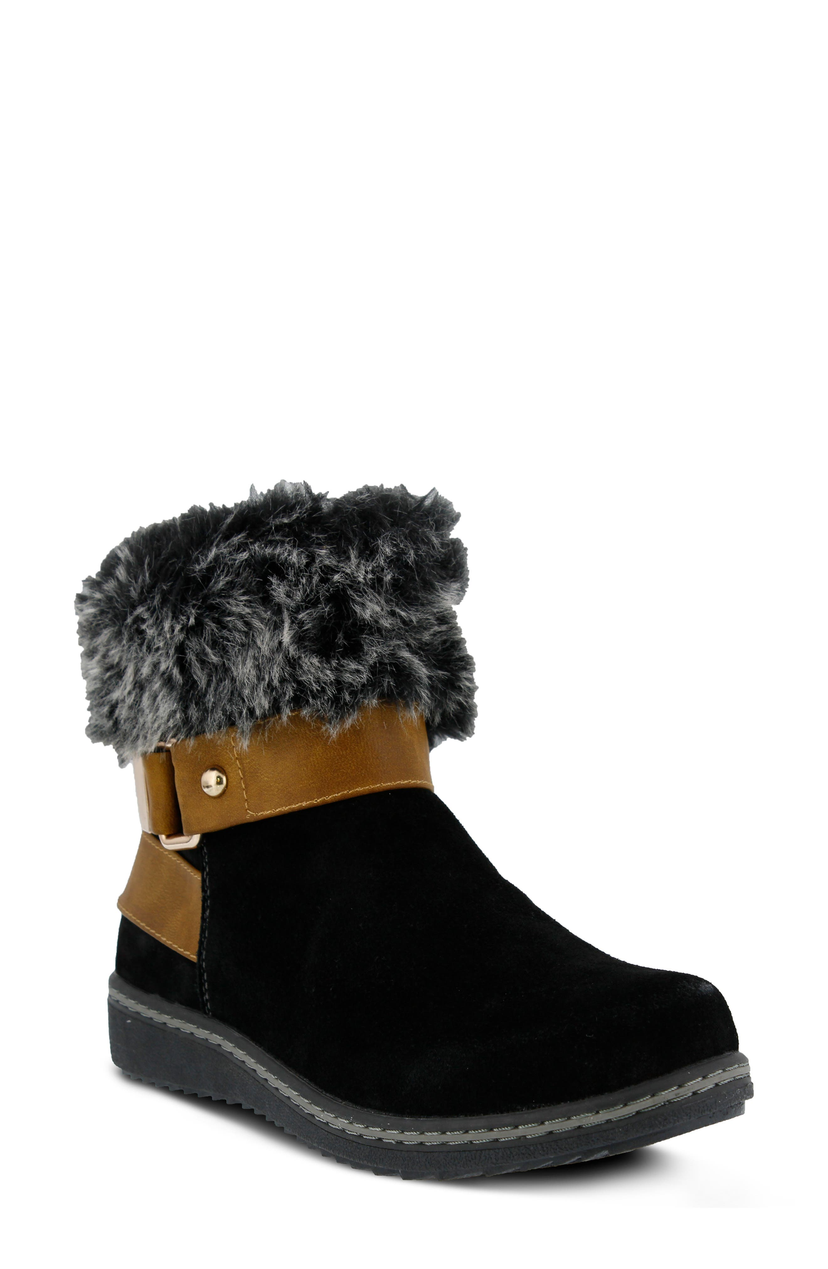 Popsicle Water Resistant Faux Fur Bootie,                             Main thumbnail 1, color,                             BLACK SUEDE