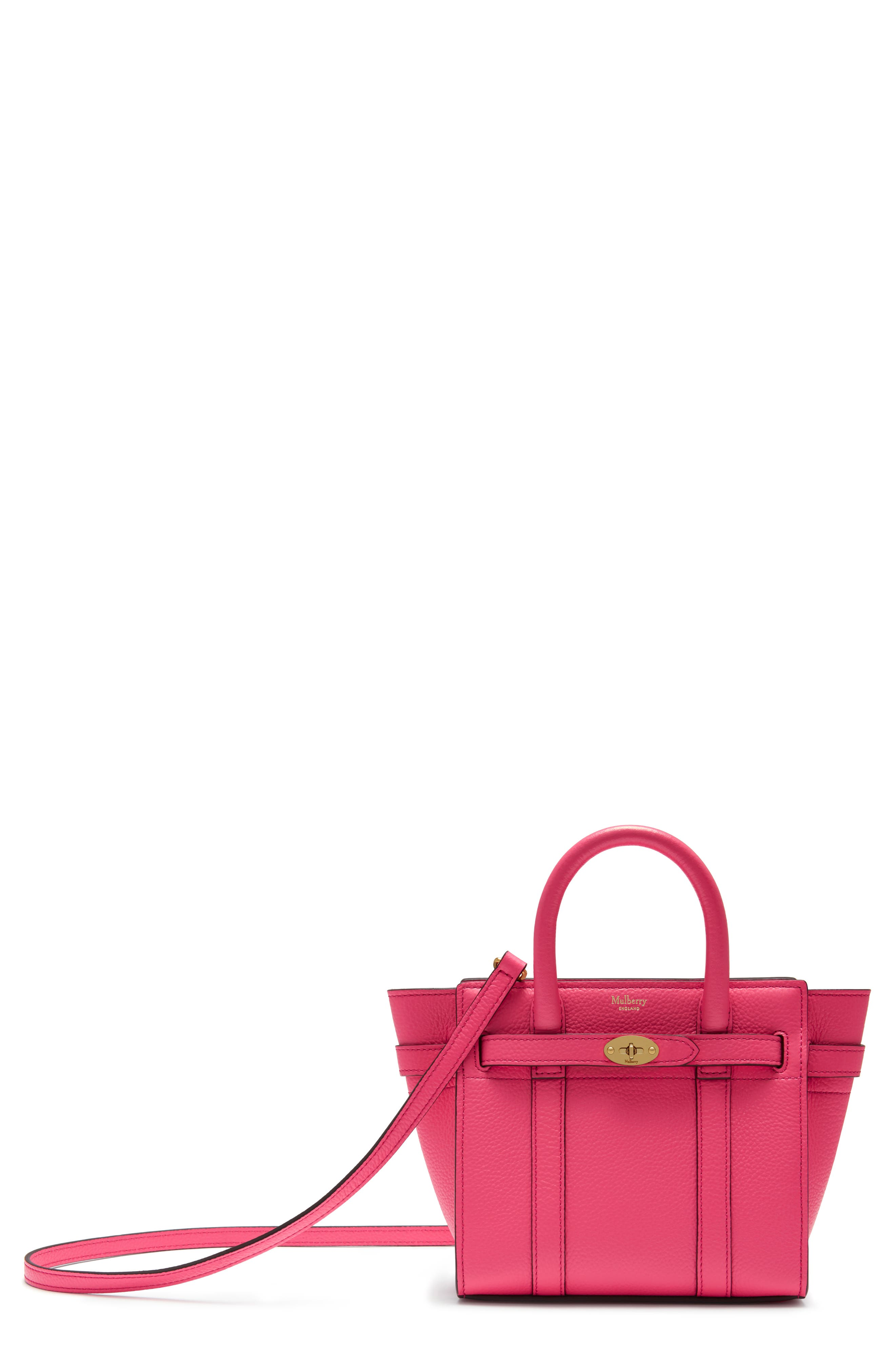 MULBERRY Micro Bayswater Leather Satchel - Pink in Fluro Pink