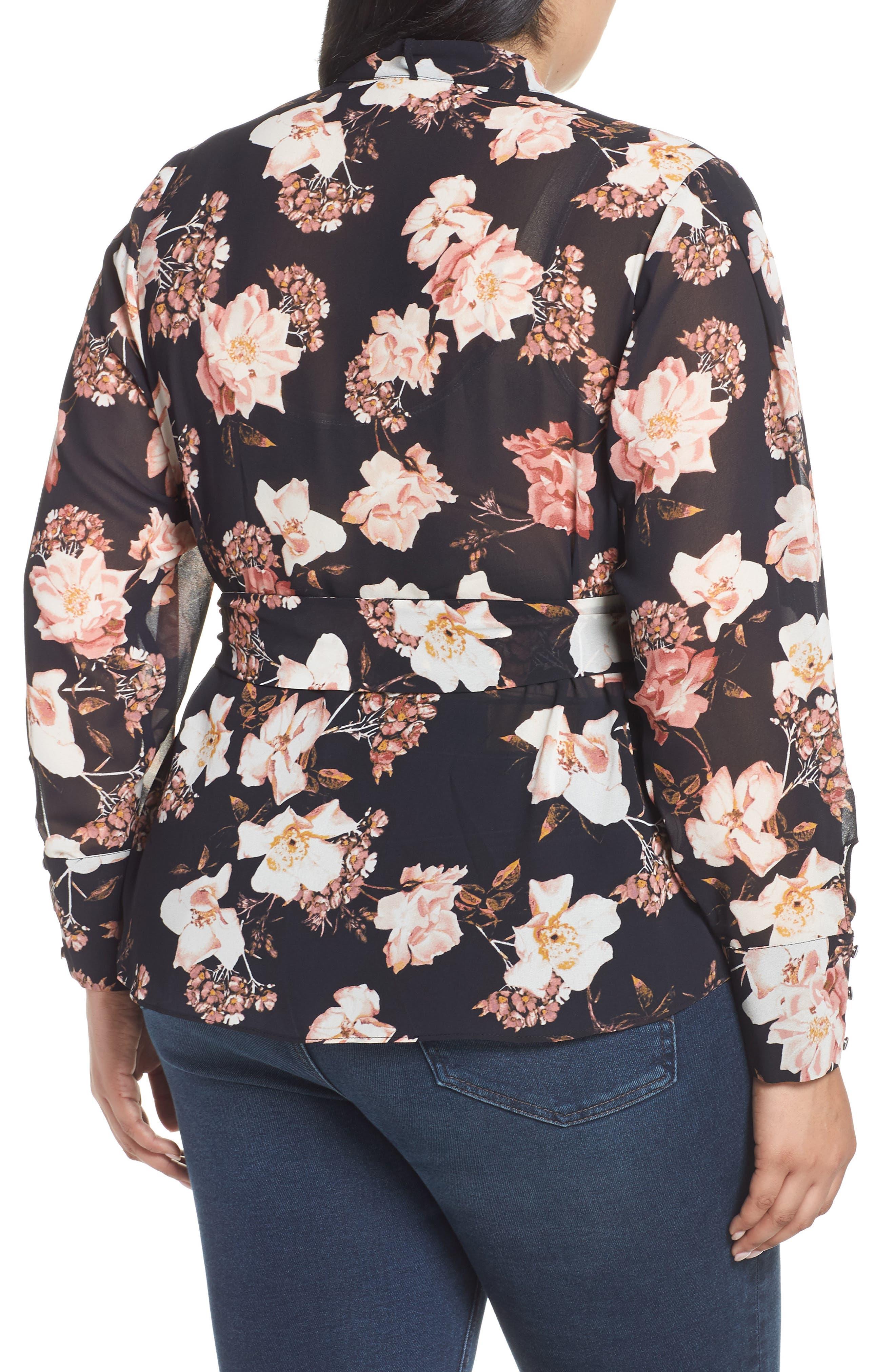 RACHEL ROY COLLECTION,                             Floral Tie Blouse,                             Alternate thumbnail 2, color,                             BLACK COMBO