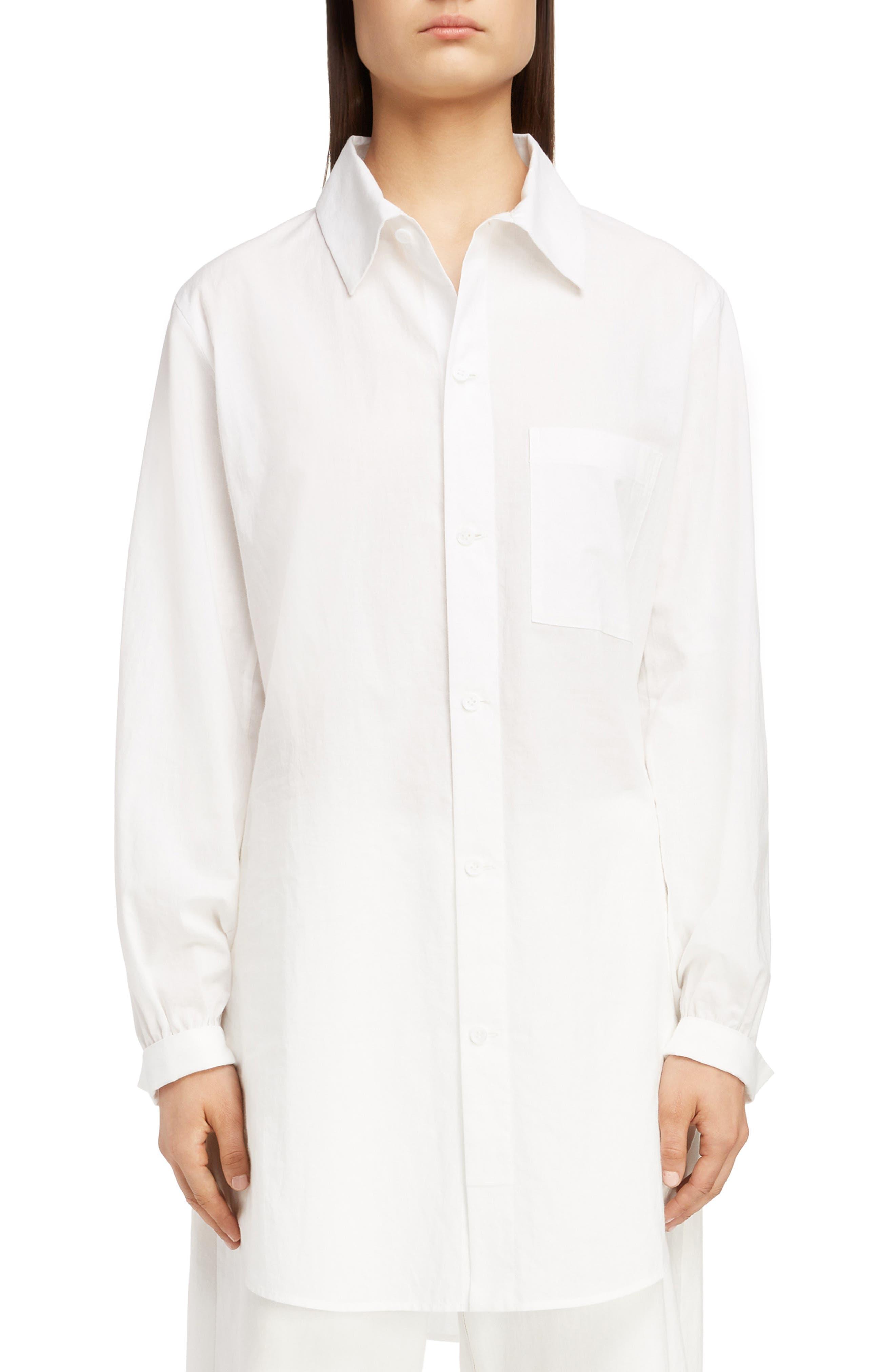 Tuck Long Blouse,                         Main,                         color, WHITE