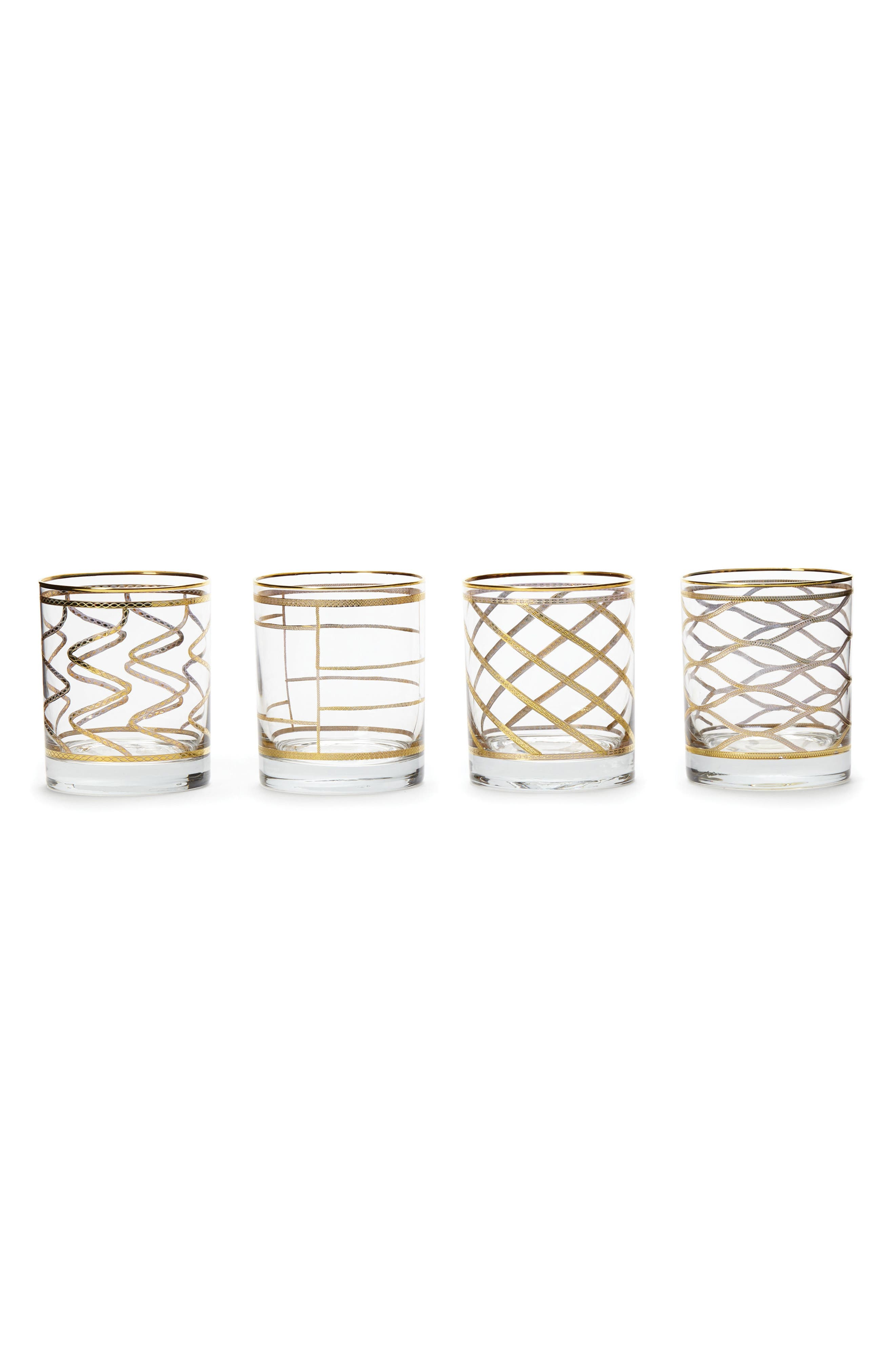 Elegante Set of 4 Double Old Fashioned Glasses,                         Main,                         color, GOLD