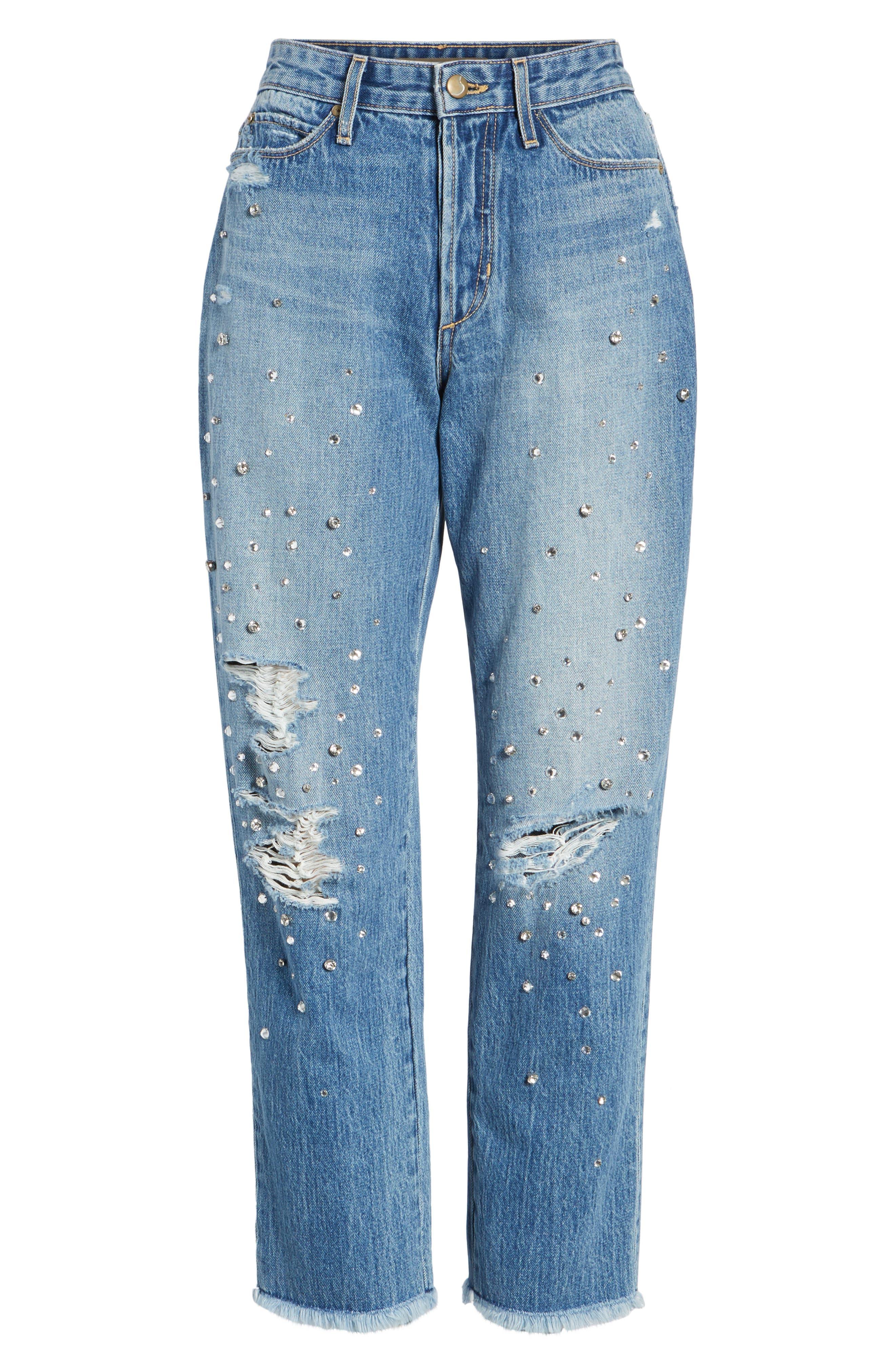 Jeans Smith Rhinestone Crop Boyfriend Jeans,                             Alternate thumbnail 6, color,                             450