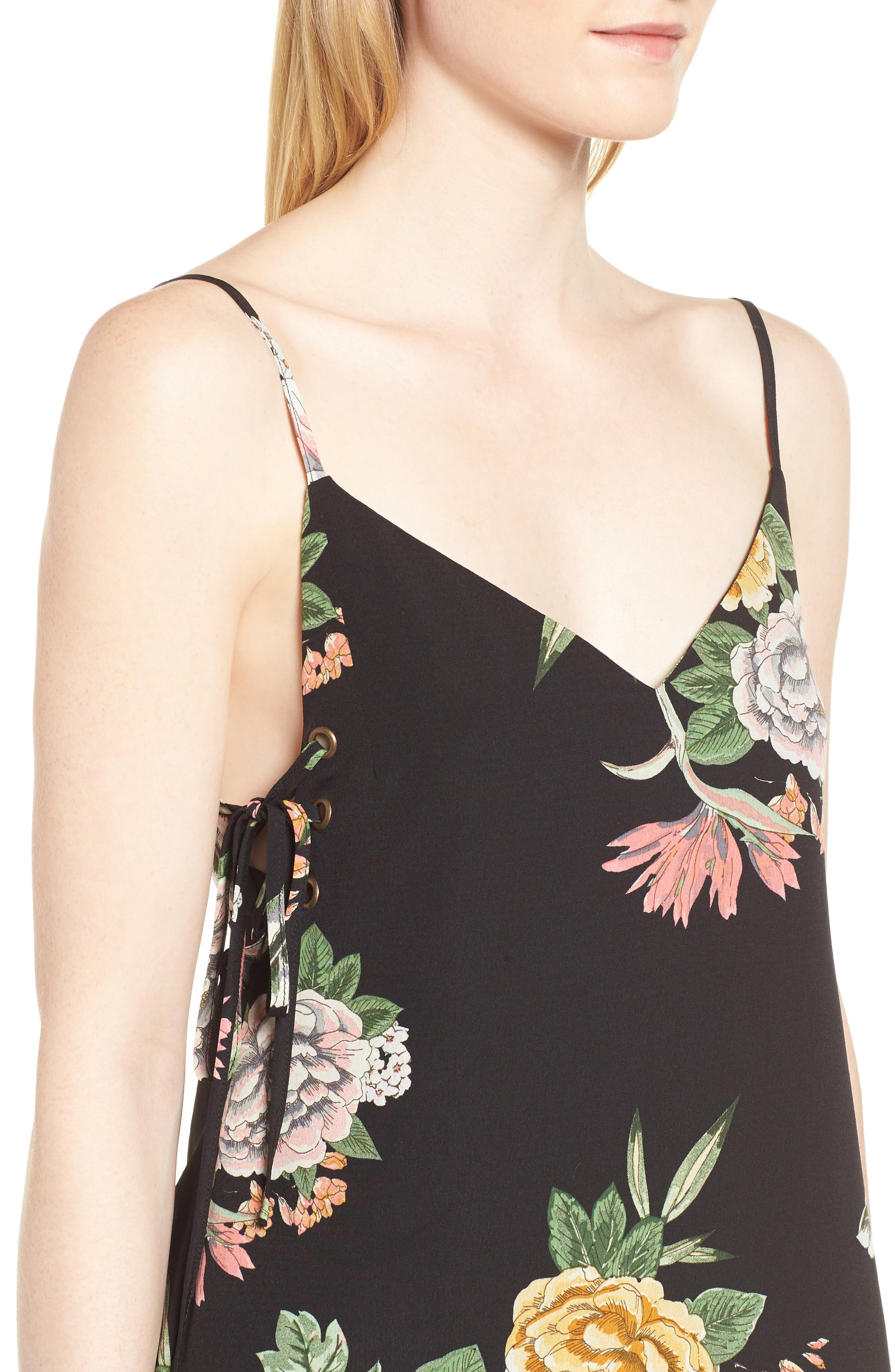 Enchanted Garden Lace-Up Dress,                             Alternate thumbnail 4, color,                             ENCHANTED GARDEN PRINT