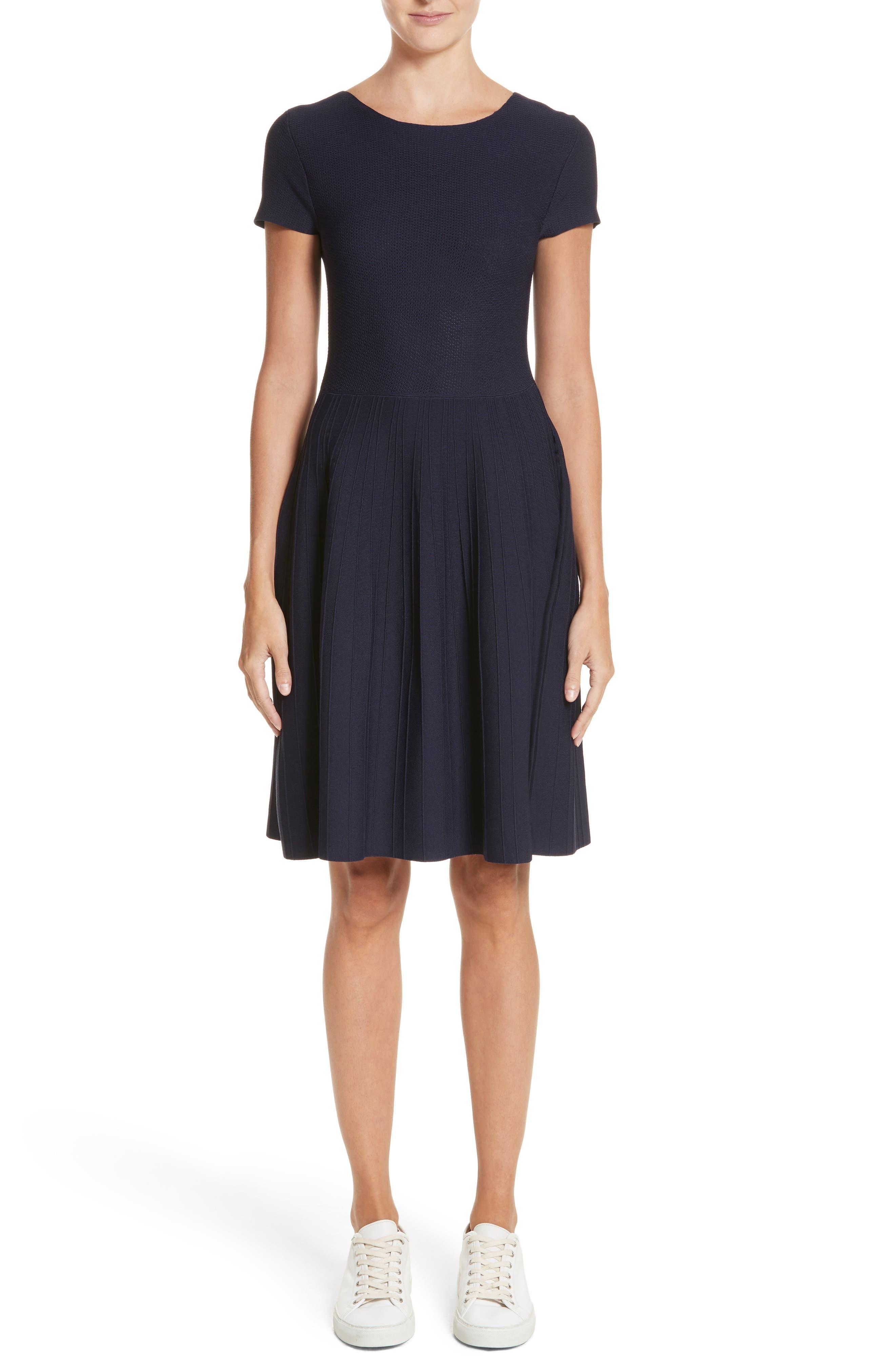 Knit Fit & Flare Dress,                             Main thumbnail 1, color,                             414
