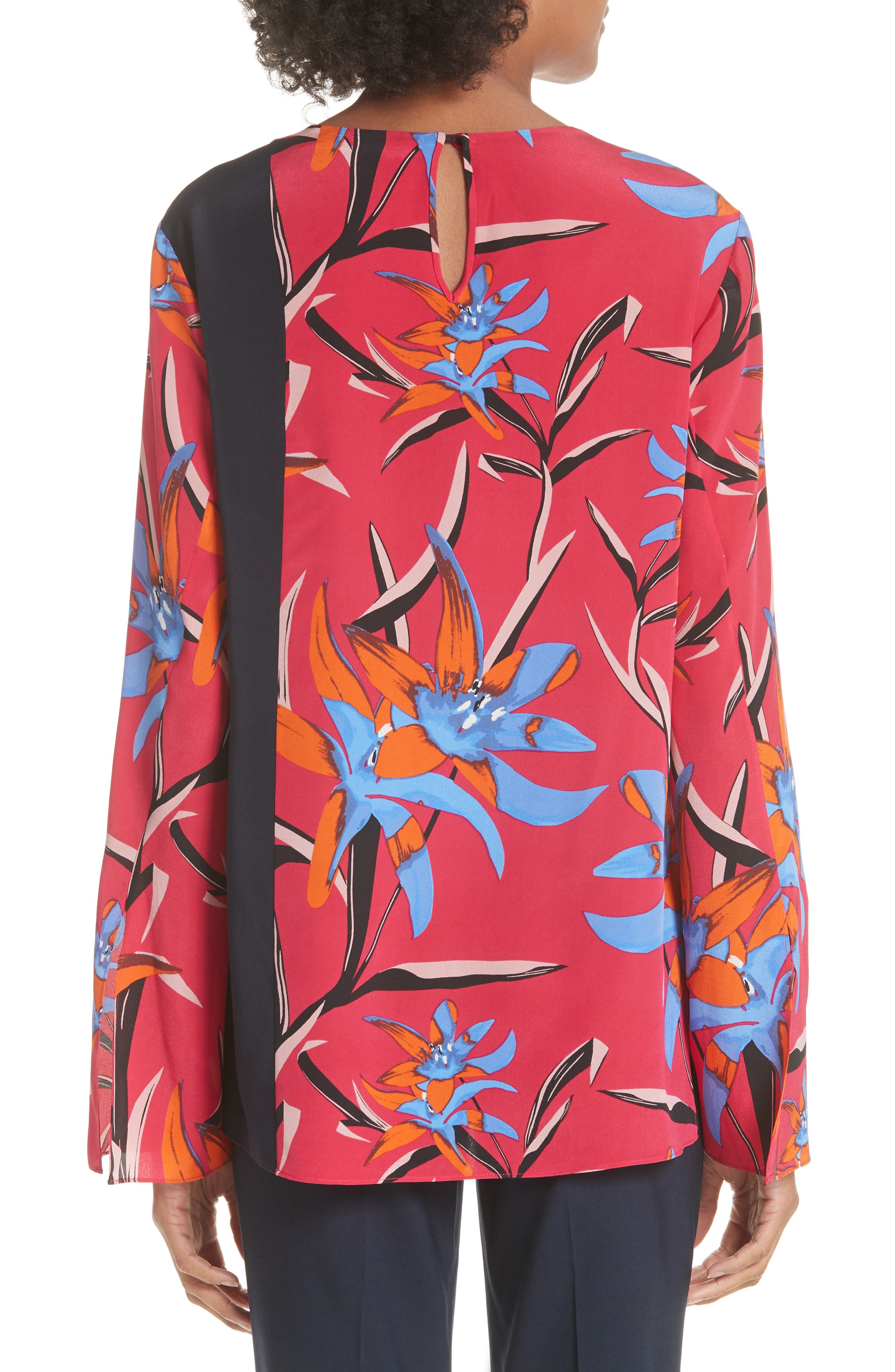 Diane von Furstenberg Side Slit Silk Blouse,                             Alternate thumbnail 4, color,