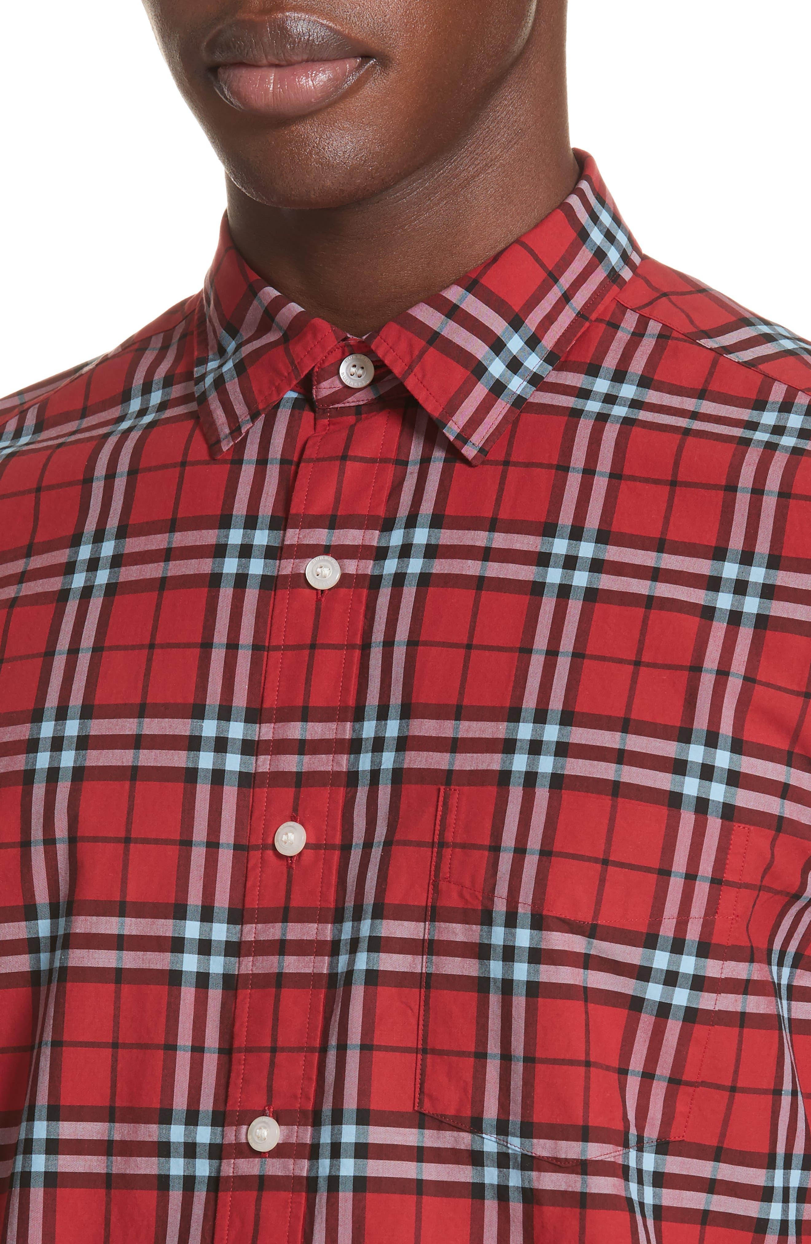 Alexander Check Sport Shirt,                             Alternate thumbnail 2, color,                             BRIGHT RED