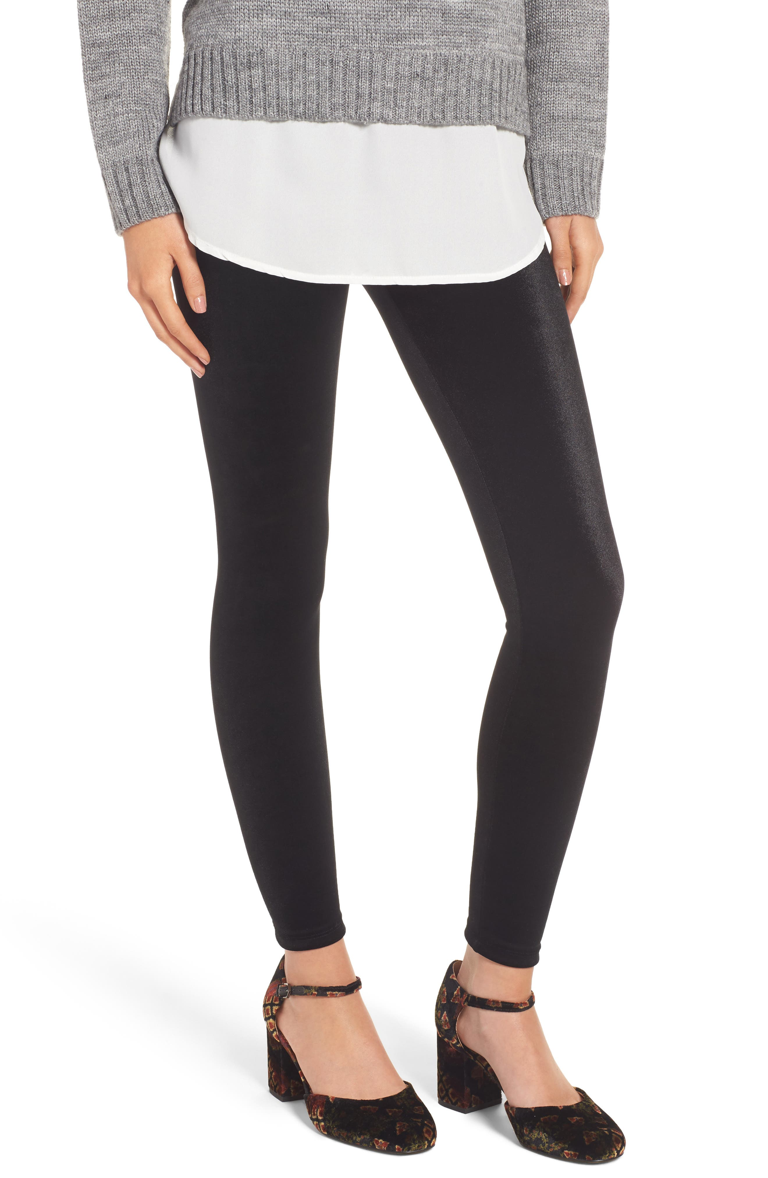 Perfect Control Top Velvet Leggings,                         Main,                         color, BLACK