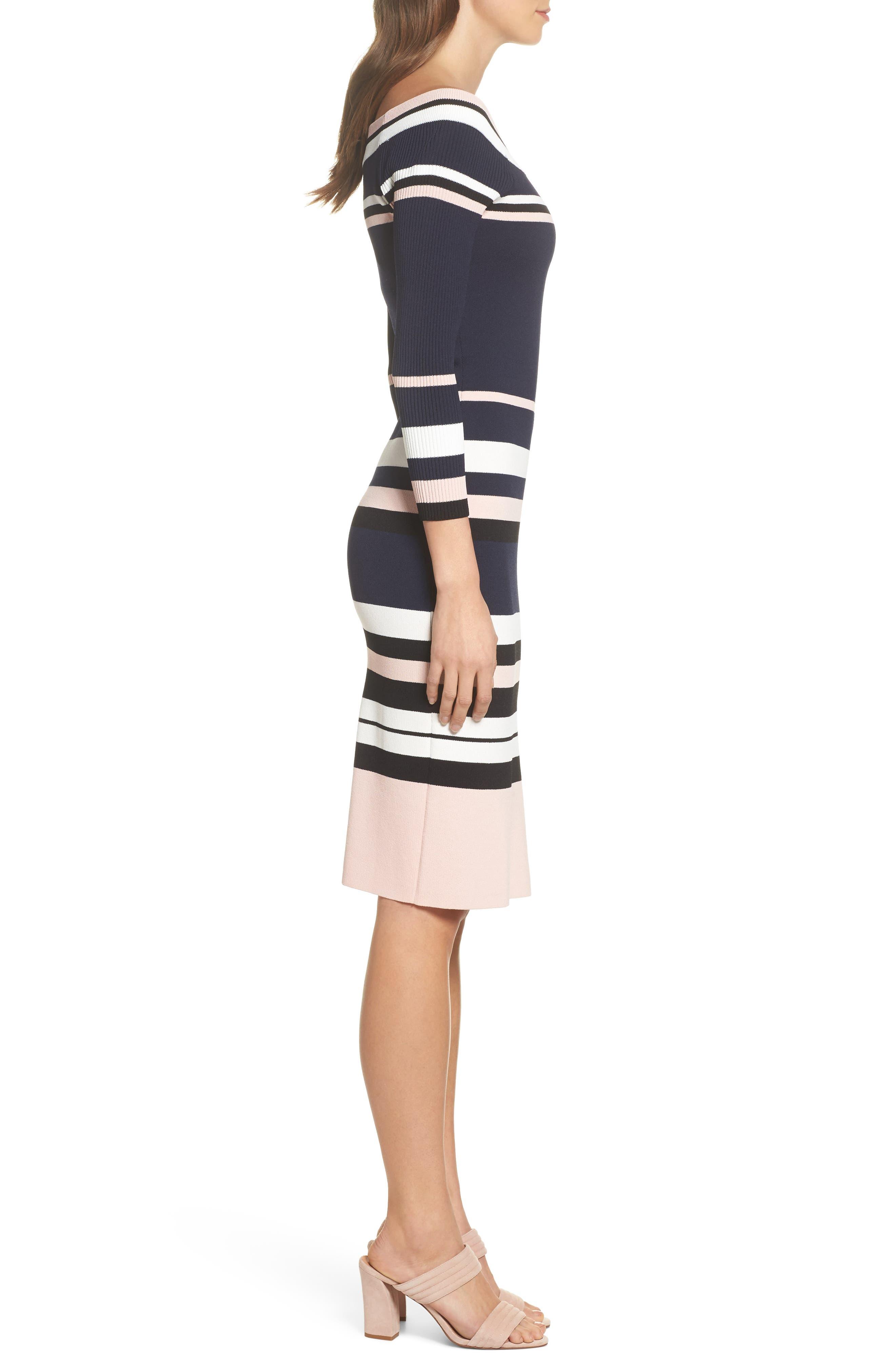 Stripe Sweater Dress,                             Alternate thumbnail 3, color,                             498