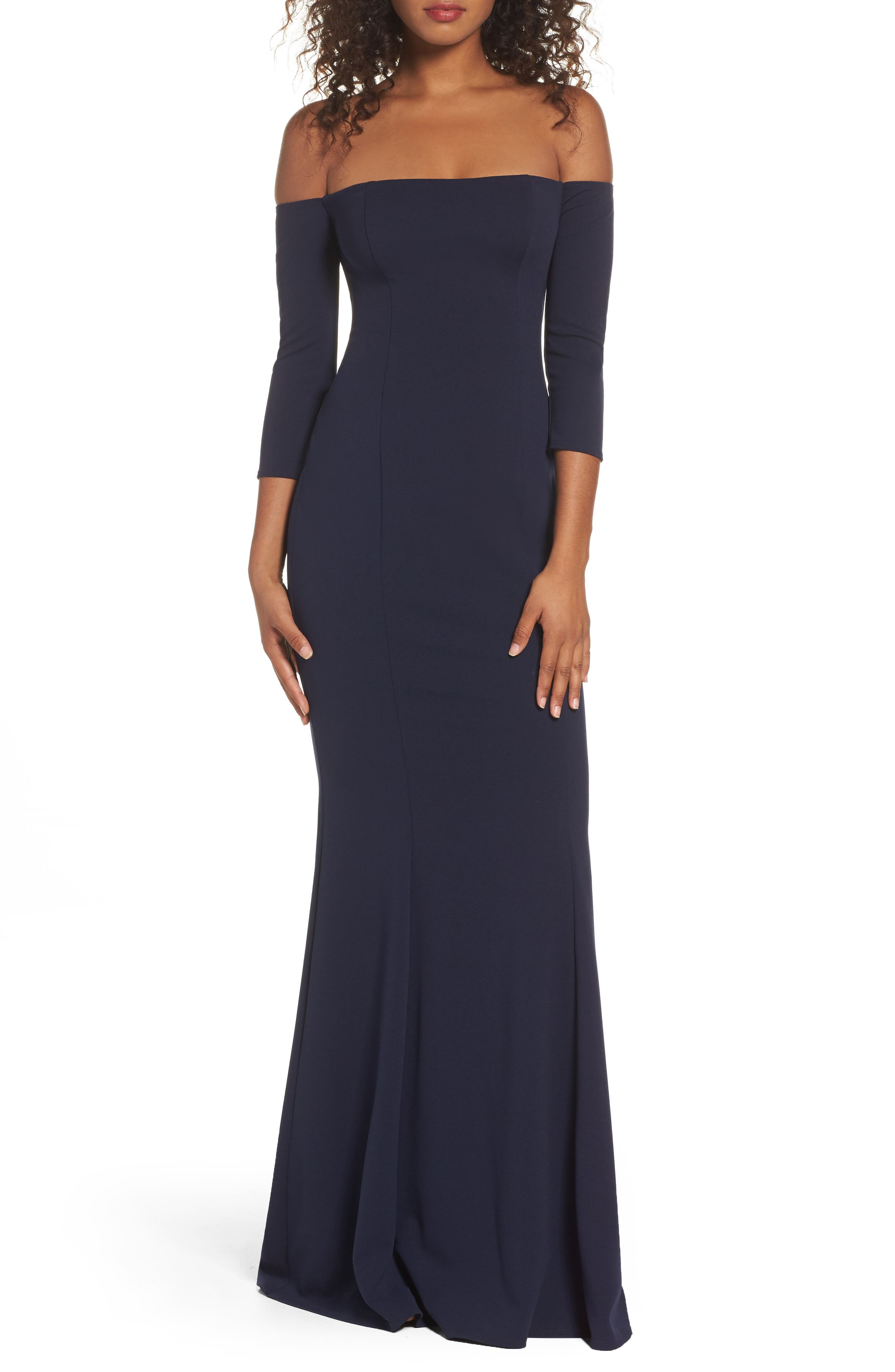 Brentwood Three-Quarter Sleeve Off the Shoulder Gown,                             Main thumbnail 1, color,                             NAVY
