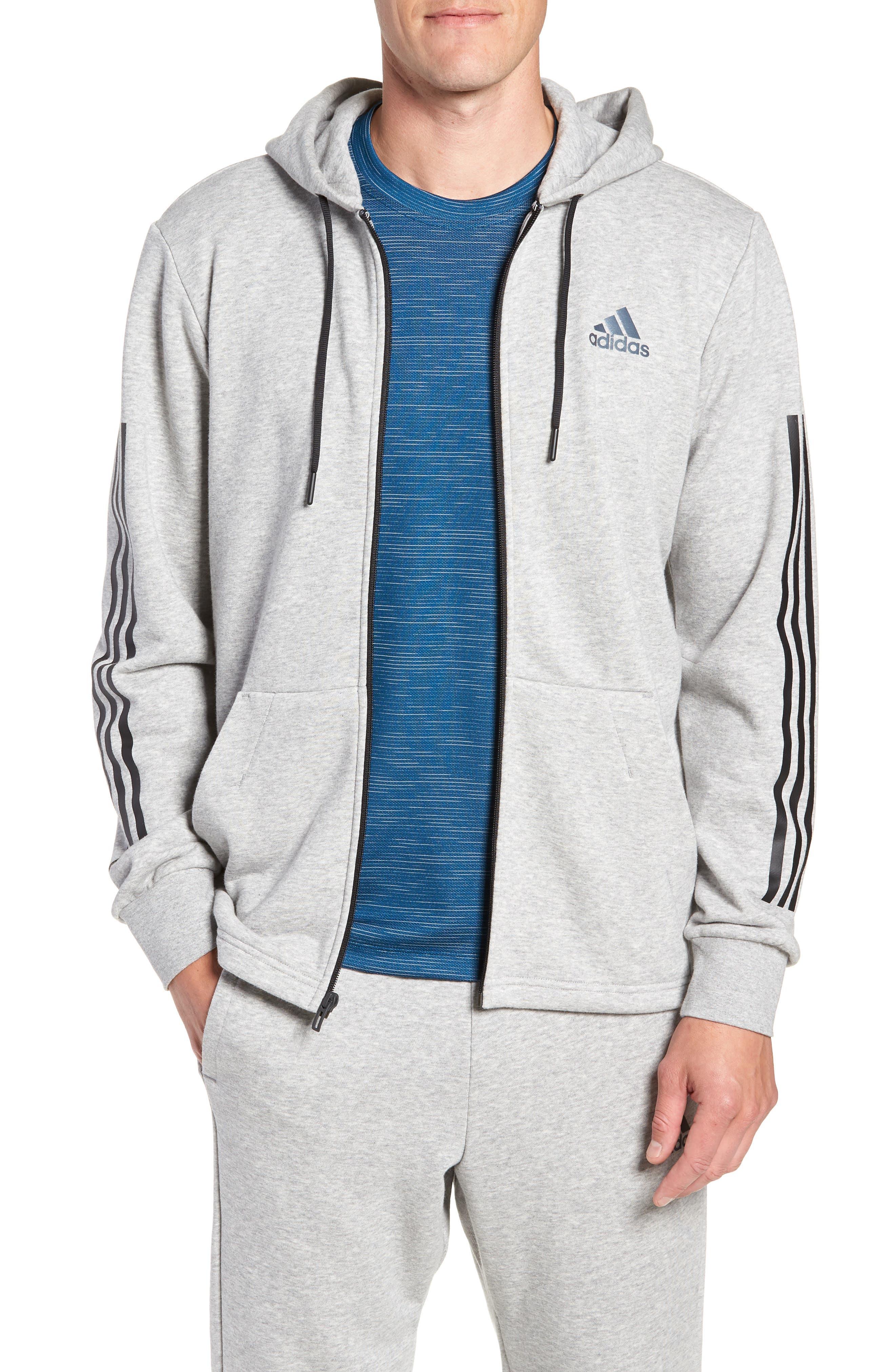 Adidas 3-Stripes Full Zip Hoodie, Grey