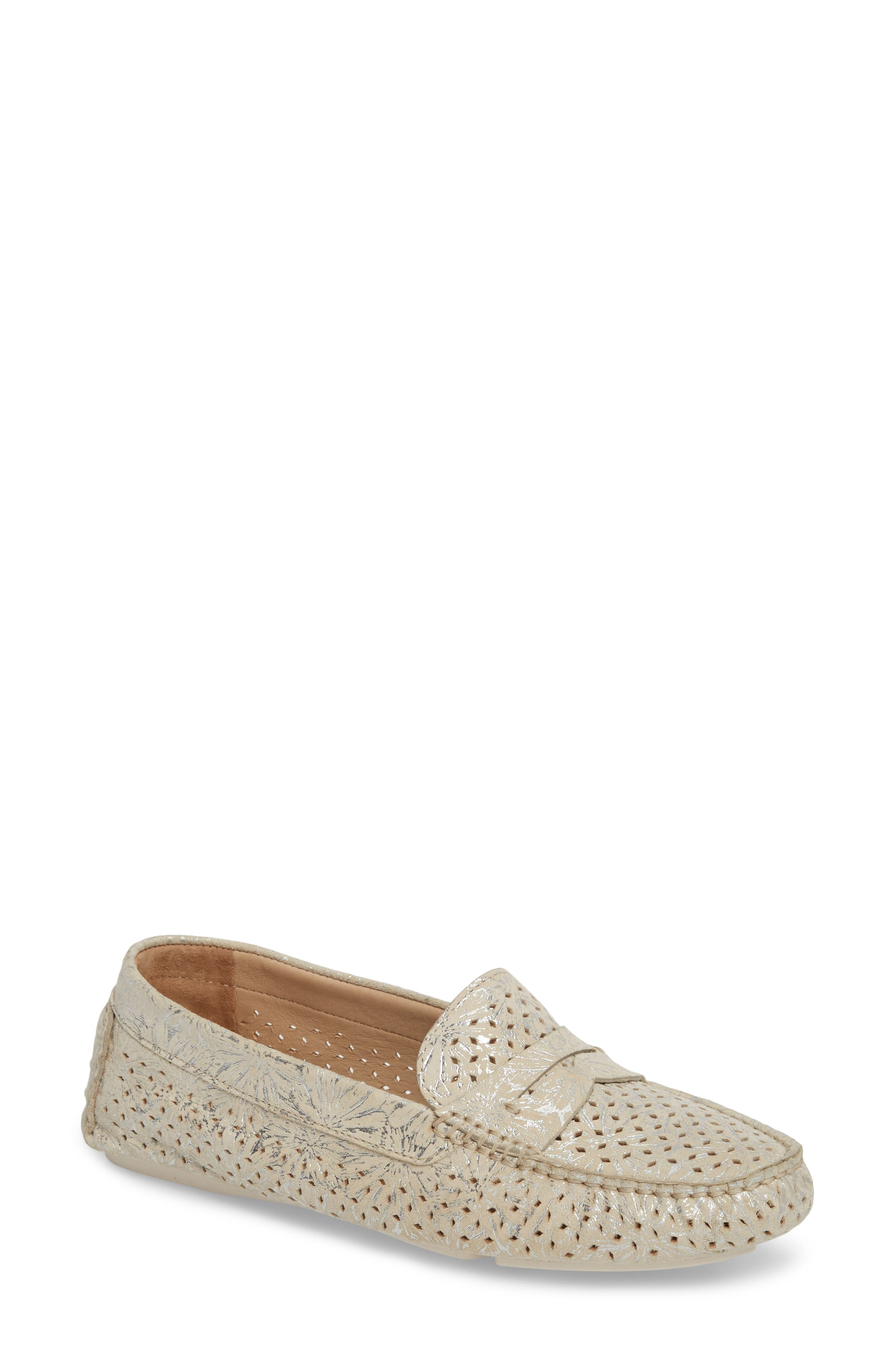 'Maggie' Penny Loafer,                             Main thumbnail 1, color,                             CREAM SUEDE