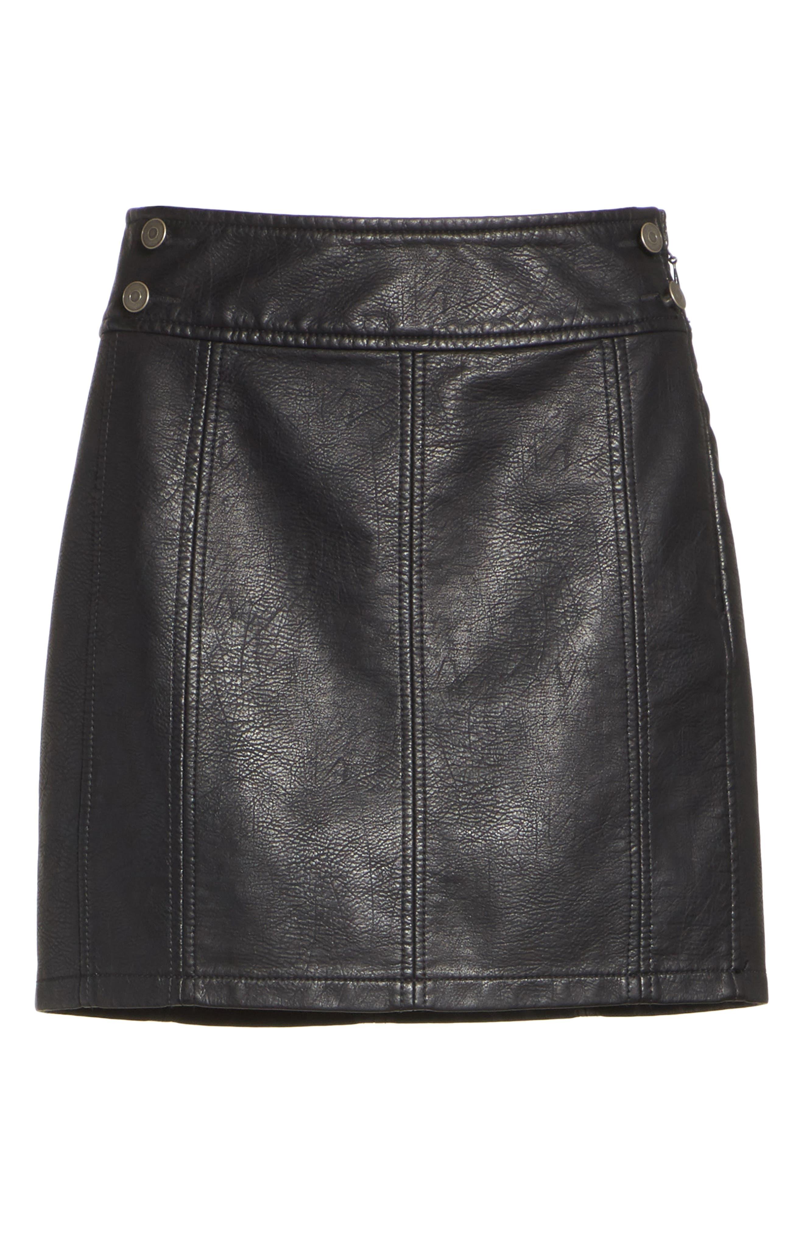 Retro Faux Leather Body-Con Miniskirt,                             Alternate thumbnail 6, color,                             001