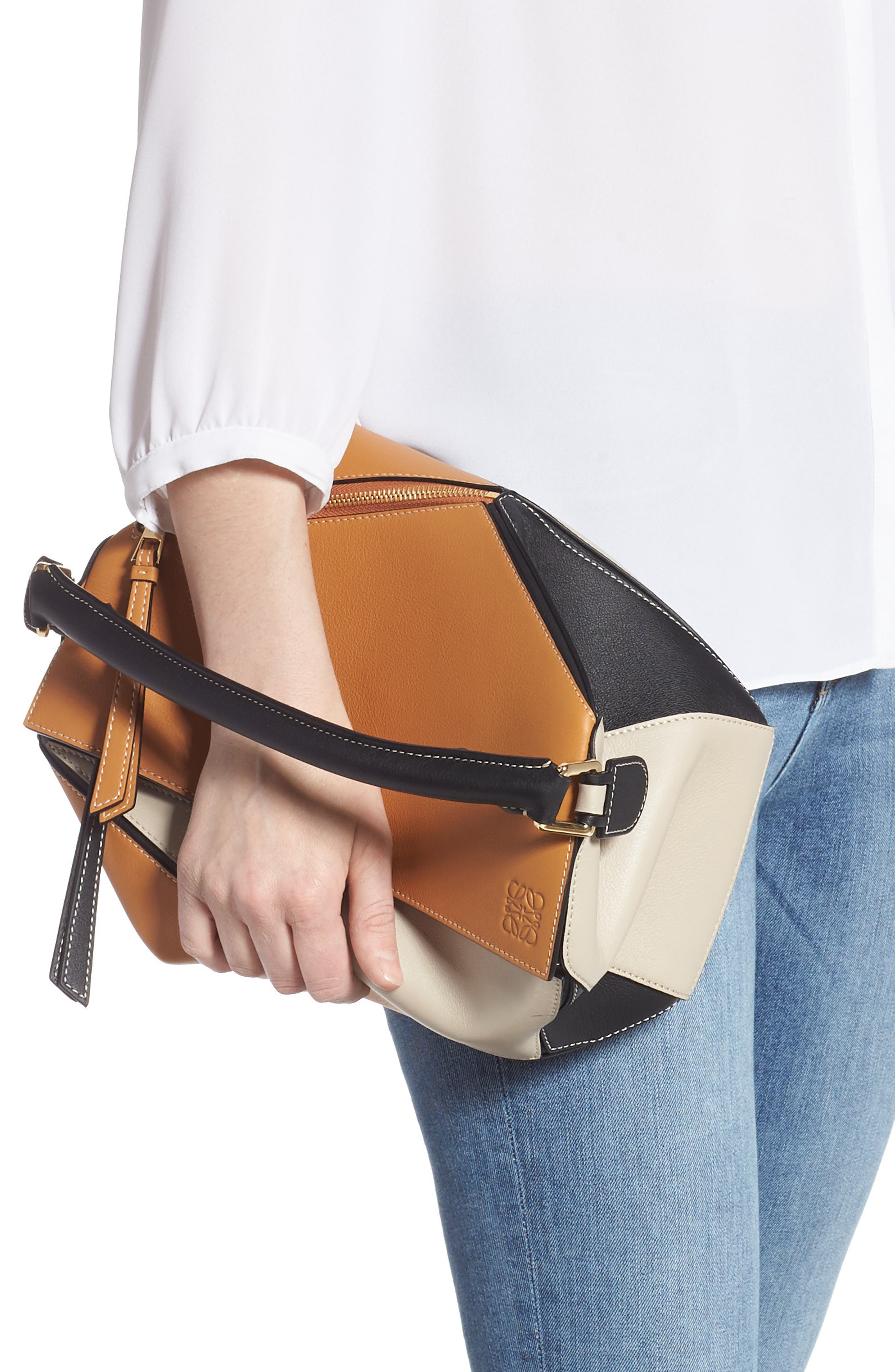 LOEWE,                             Puzzle Calfskin Leather Shoulder Bag,                             Alternate thumbnail 3, color,                             AMBER/ LIGHT OAT