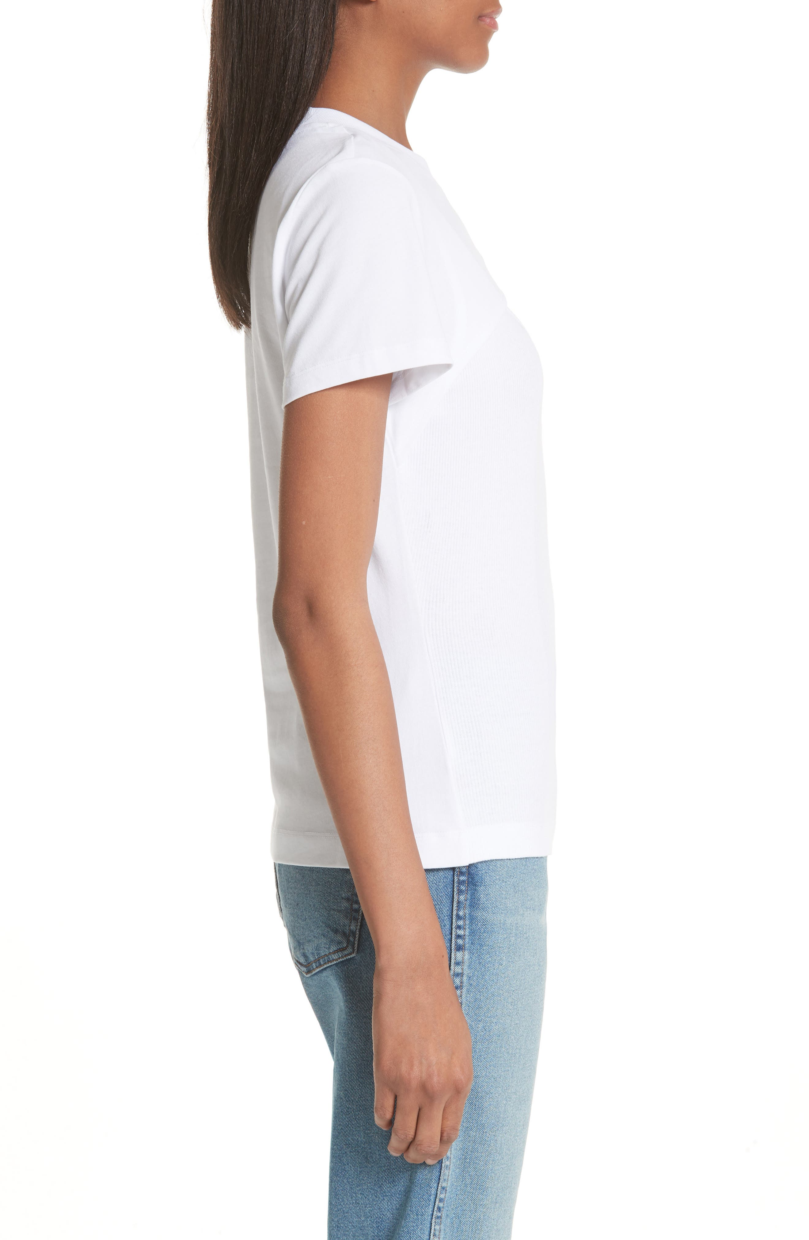 T by Alexander Wang High Twist Rib Combo Top,                             Alternate thumbnail 3, color,                             100