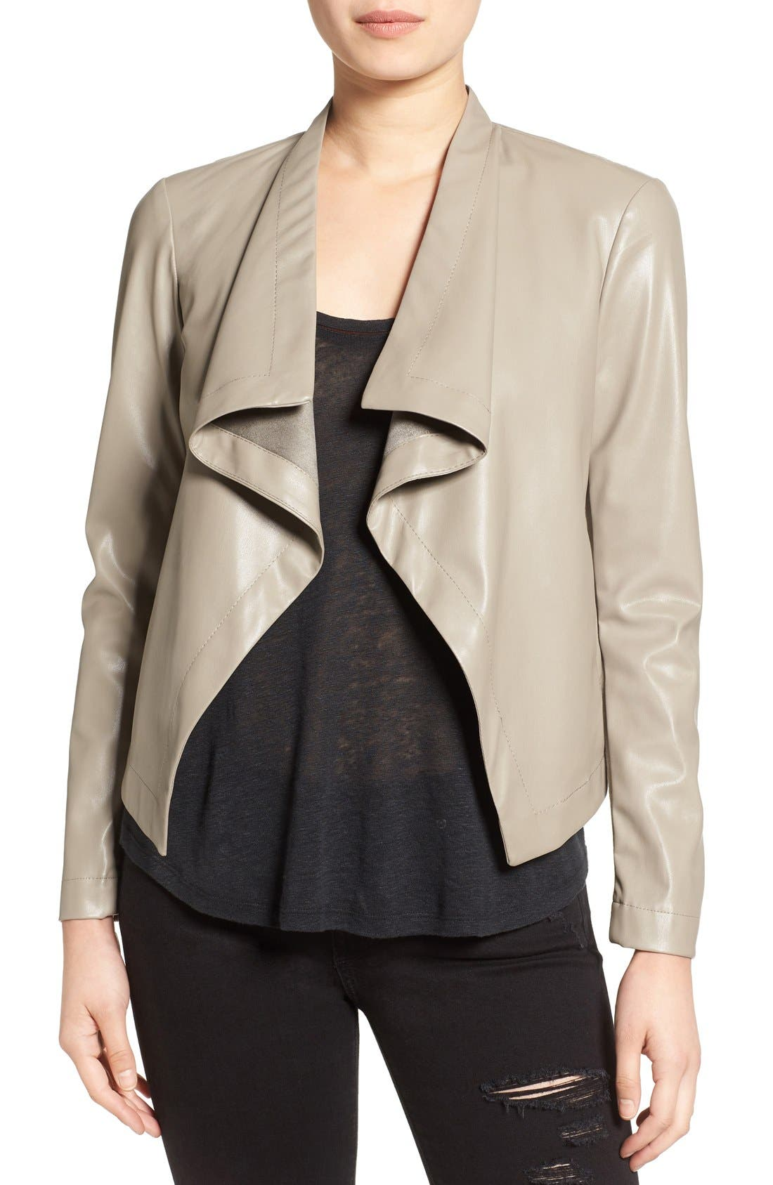 'Peppin' Drape Front Faux Leather Jacket,                             Main thumbnail 6, color,