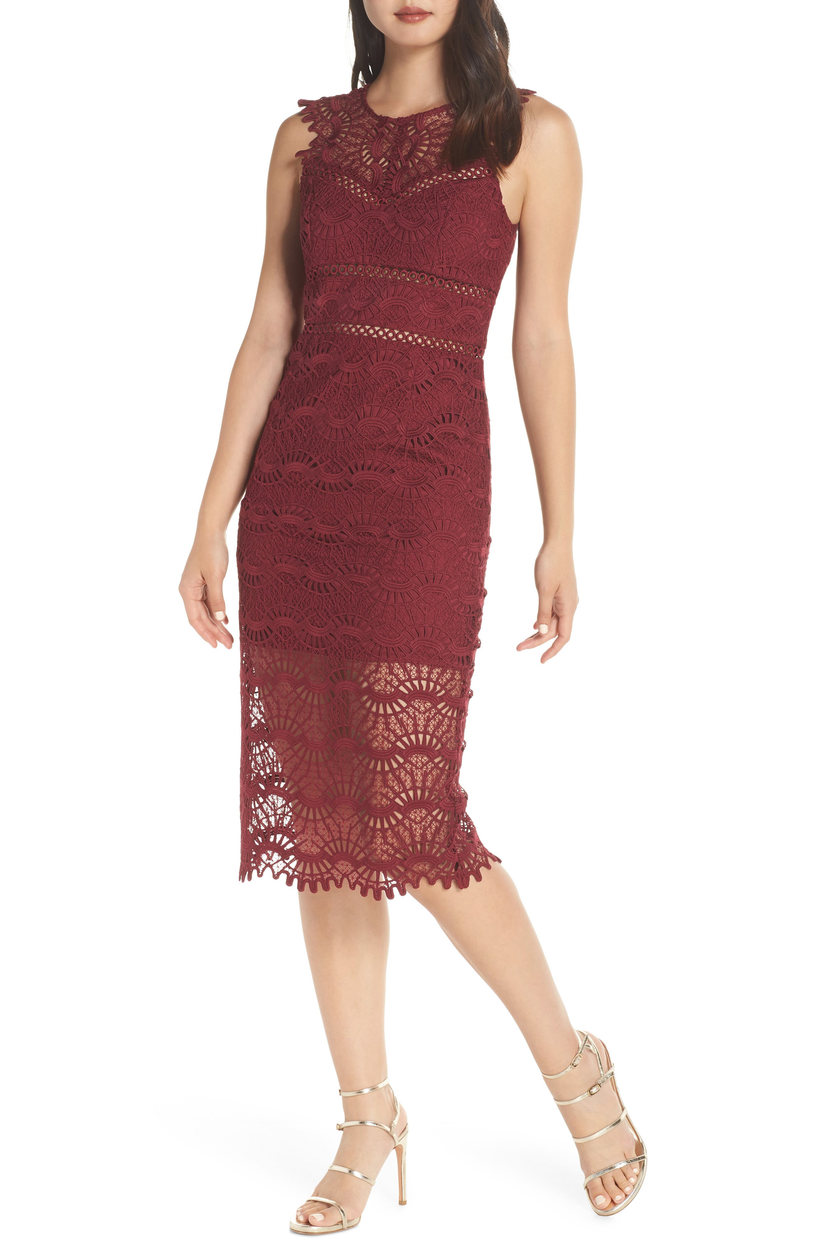 Bardot Mariano Lace Sheath Dress, Red