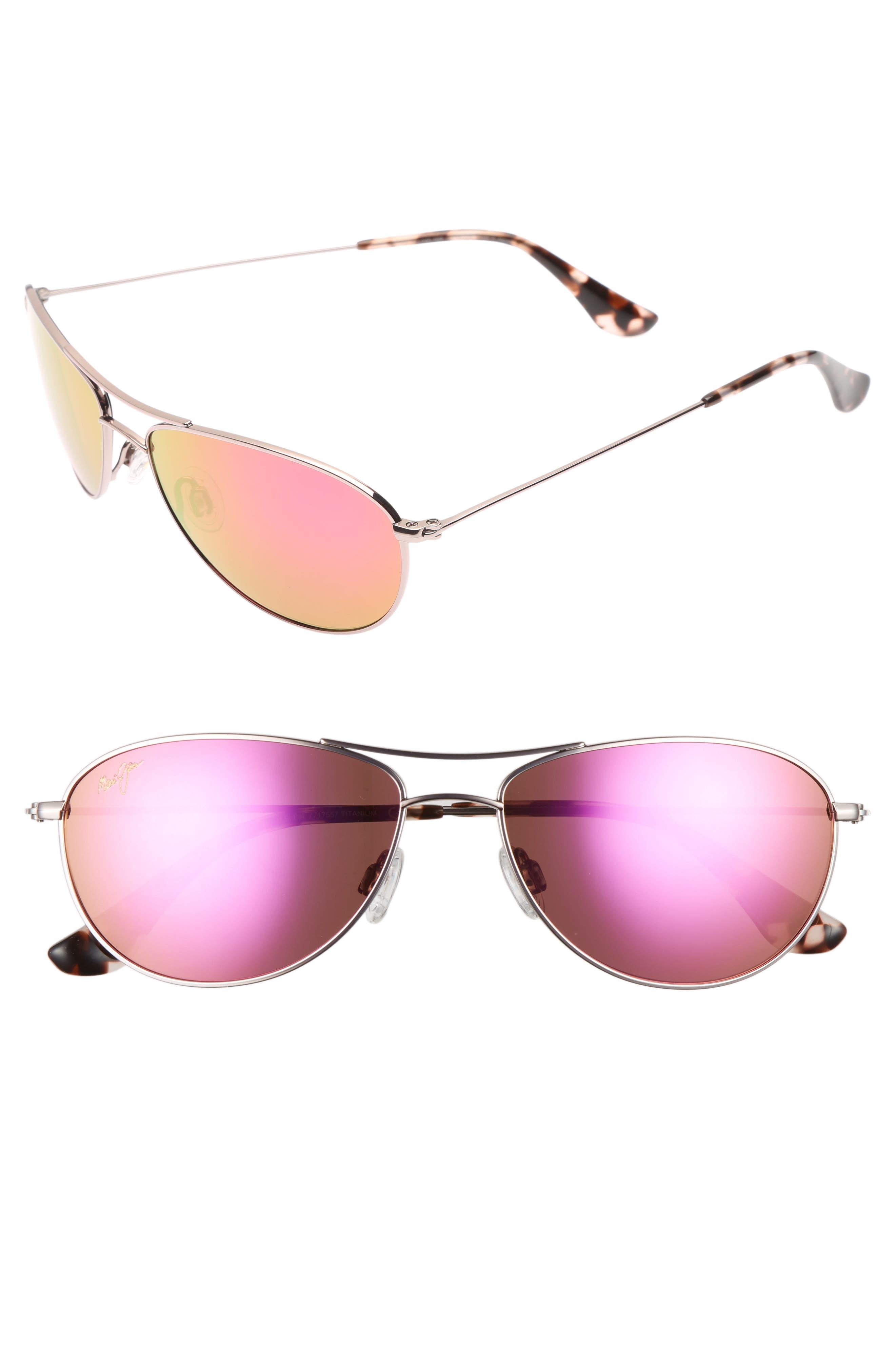 Baby Beach 56mm Mirrored PolarizedPlus2<sup>®</sup> Aviator Sunglasses,                             Main thumbnail 1, color,                             ROSE GOLD/ MAUI SUNRISE