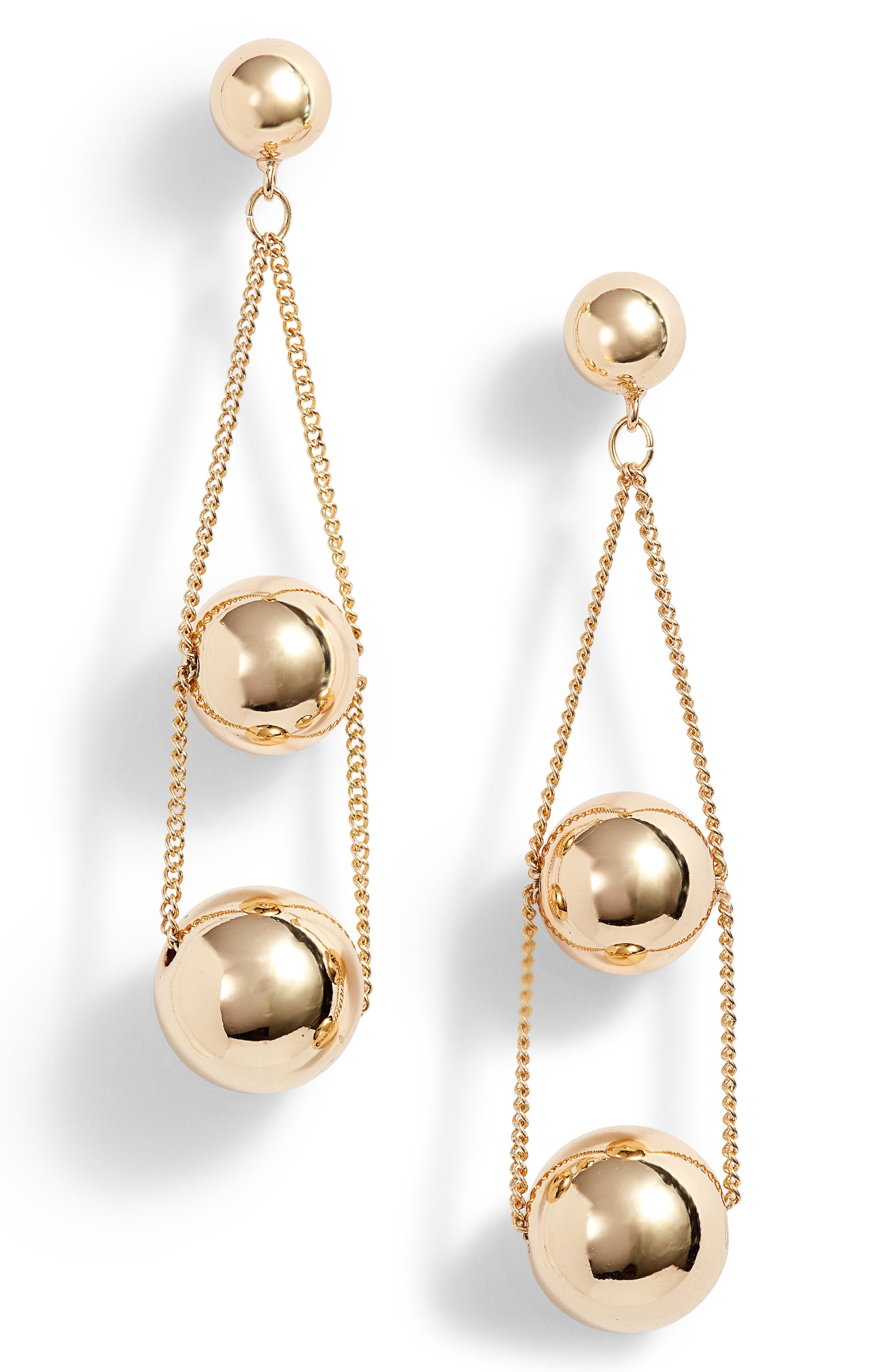 Triple Sphere Chain Drop Earrings,                             Main thumbnail 2, color,