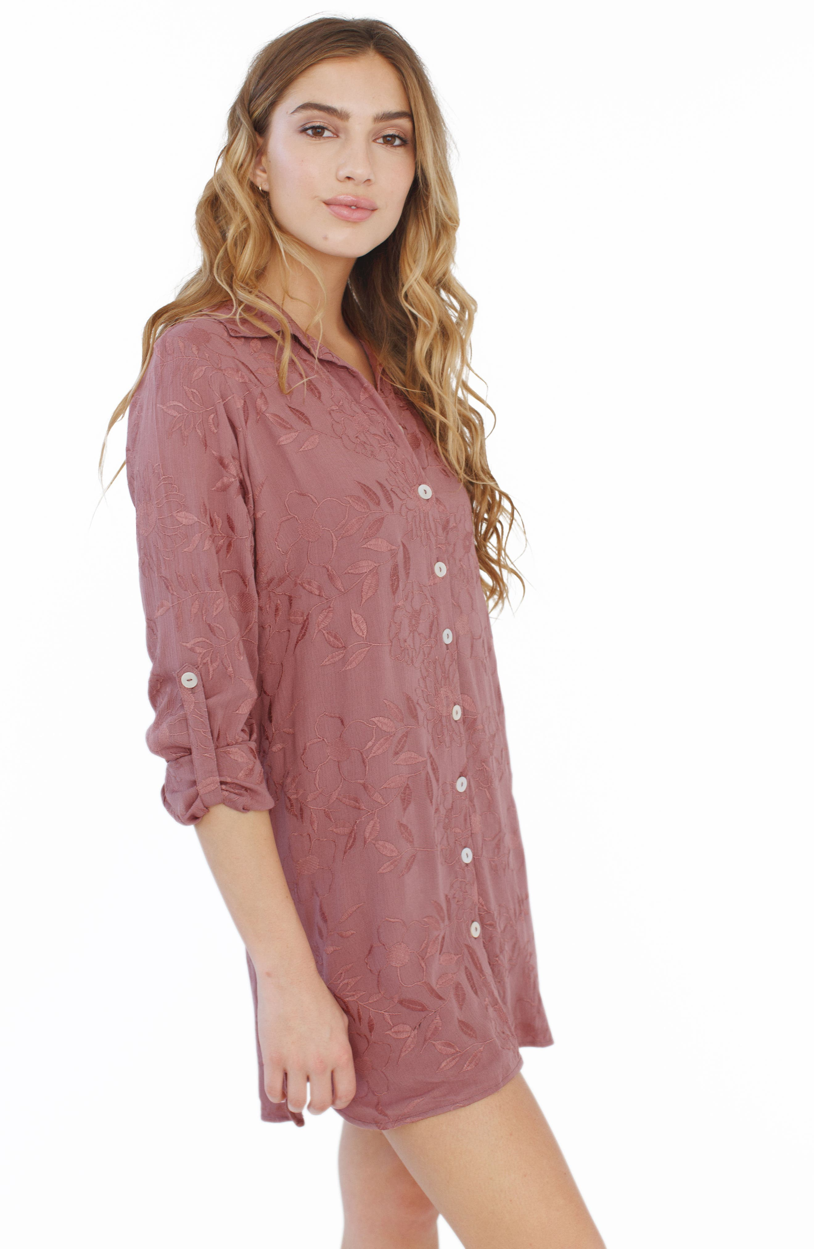 Floral Embroidered Nightshirt,                             Alternate thumbnail 2, color,                             510