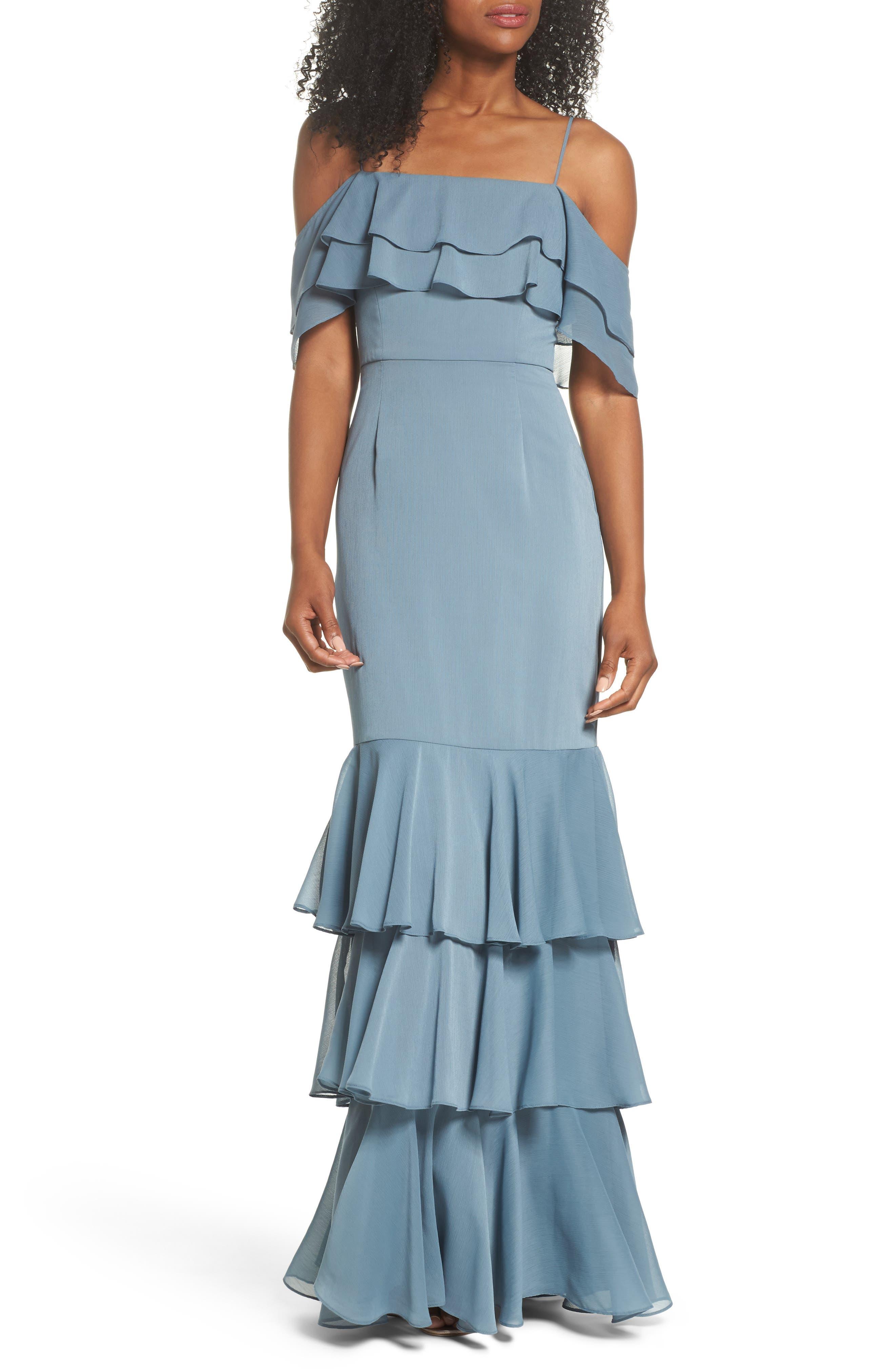 Lauren Cold Shoulder Tiered Gown,                         Main,                         color,
