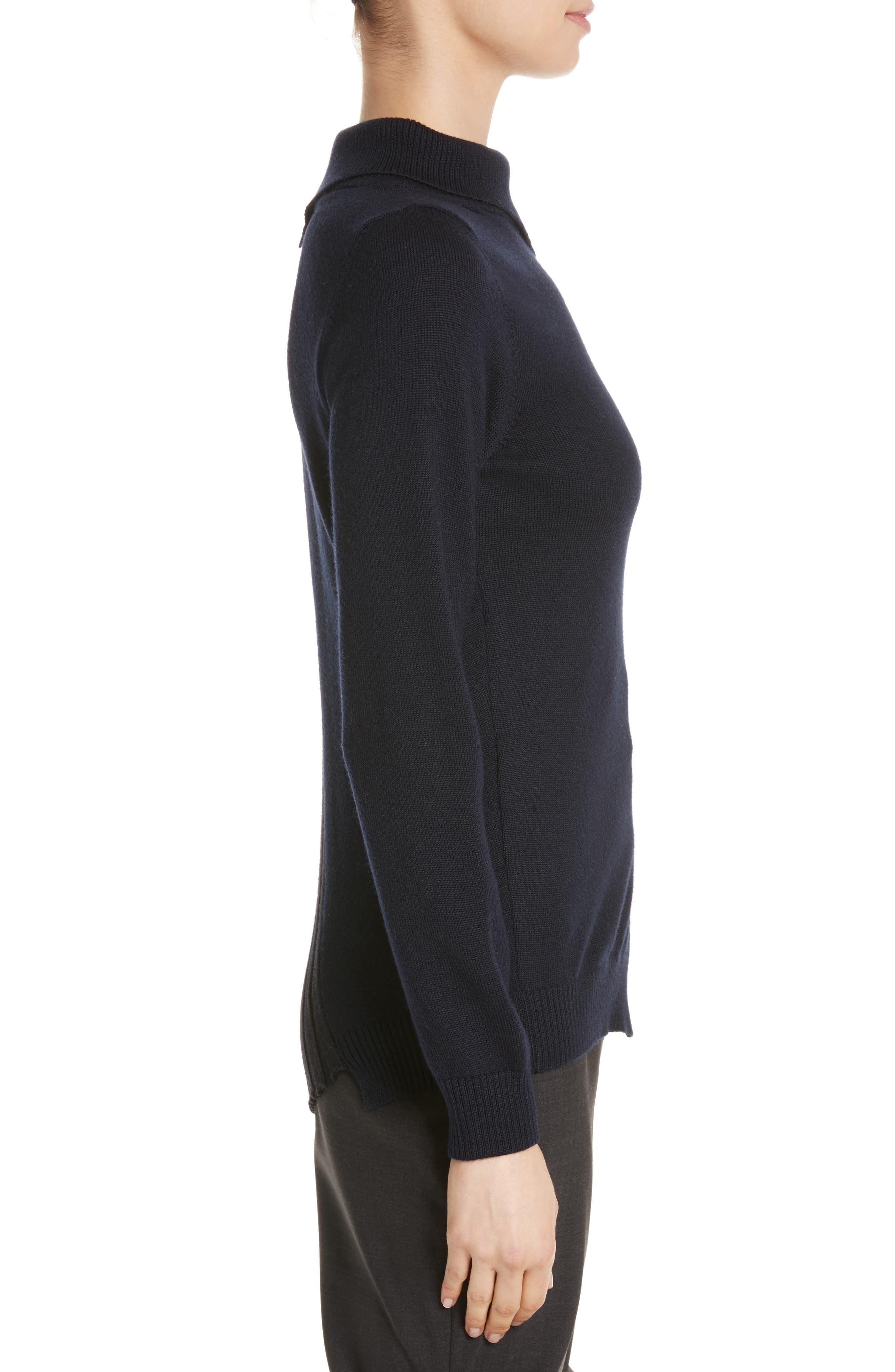 Asymmetrical Button Front Turtleneck Sweater,                             Alternate thumbnail 3, color,                             400