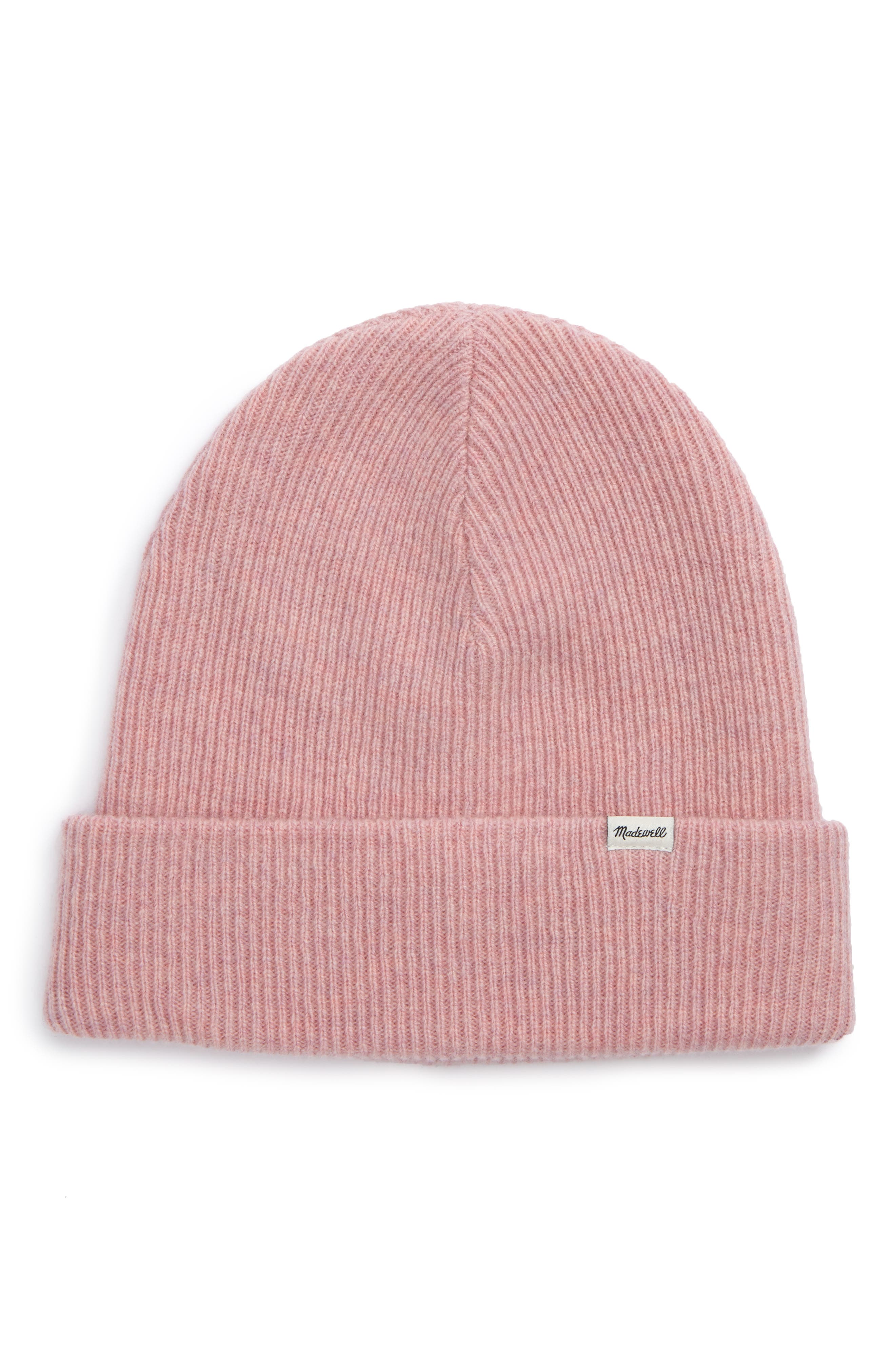 Cuffed Wool Beanie,                         Main,                         color, HEATHER CORAL