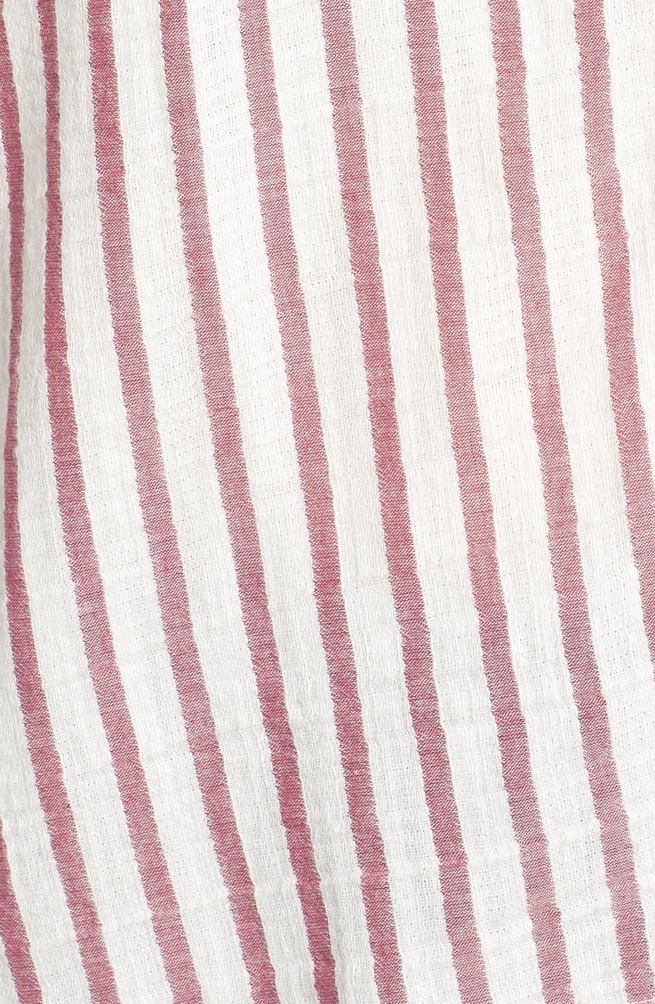 Tie Shoulder Stripe Tank,                             Alternate thumbnail 6, color,                             IVORY- PURPLE STRIPE