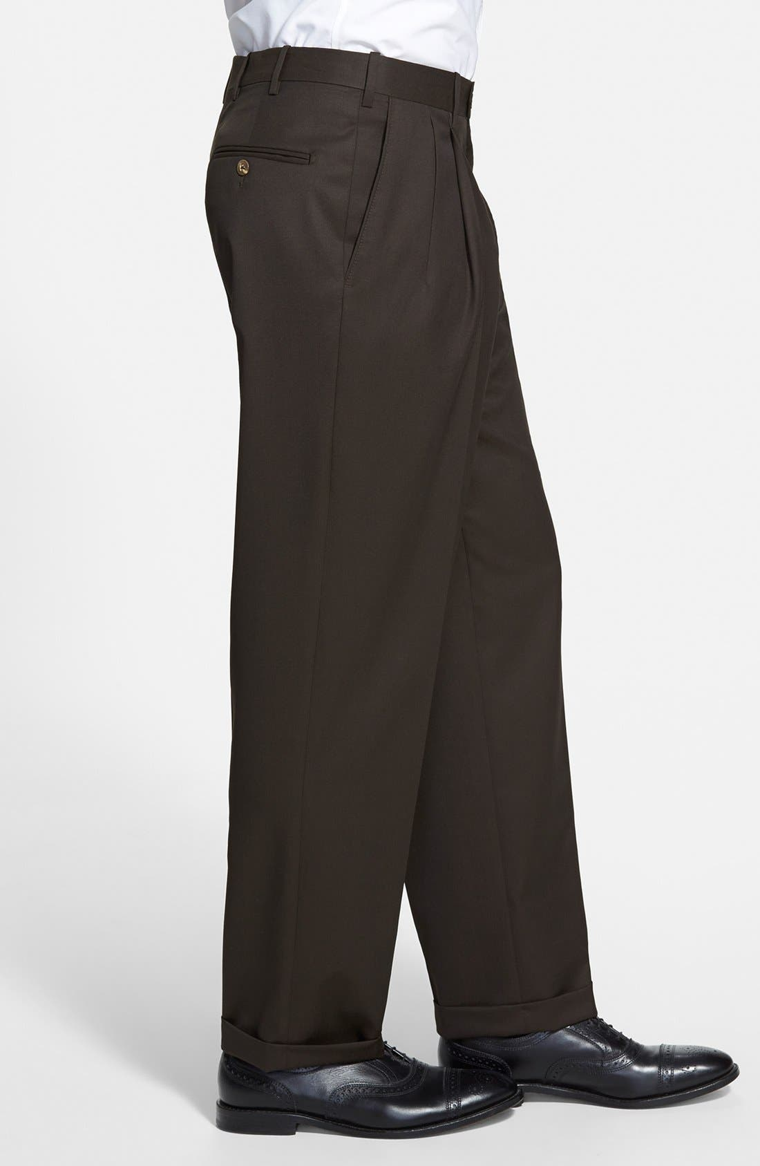 Pleated Super 100s Worsted Wool Trousers,                             Alternate thumbnail 12, color,