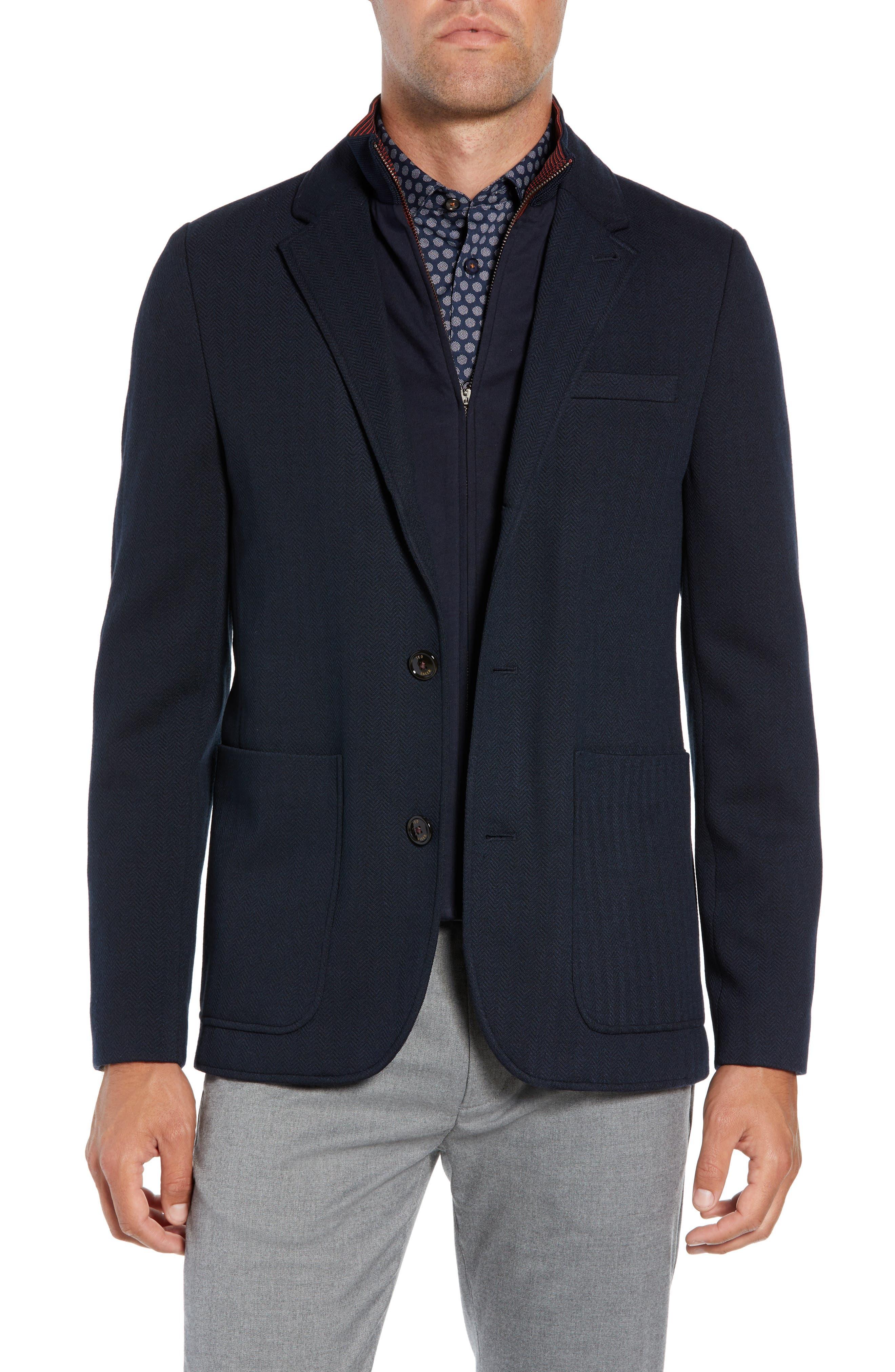 Glenny Slim Fit Layered Look Blazer,                         Main,                         color, NAVY