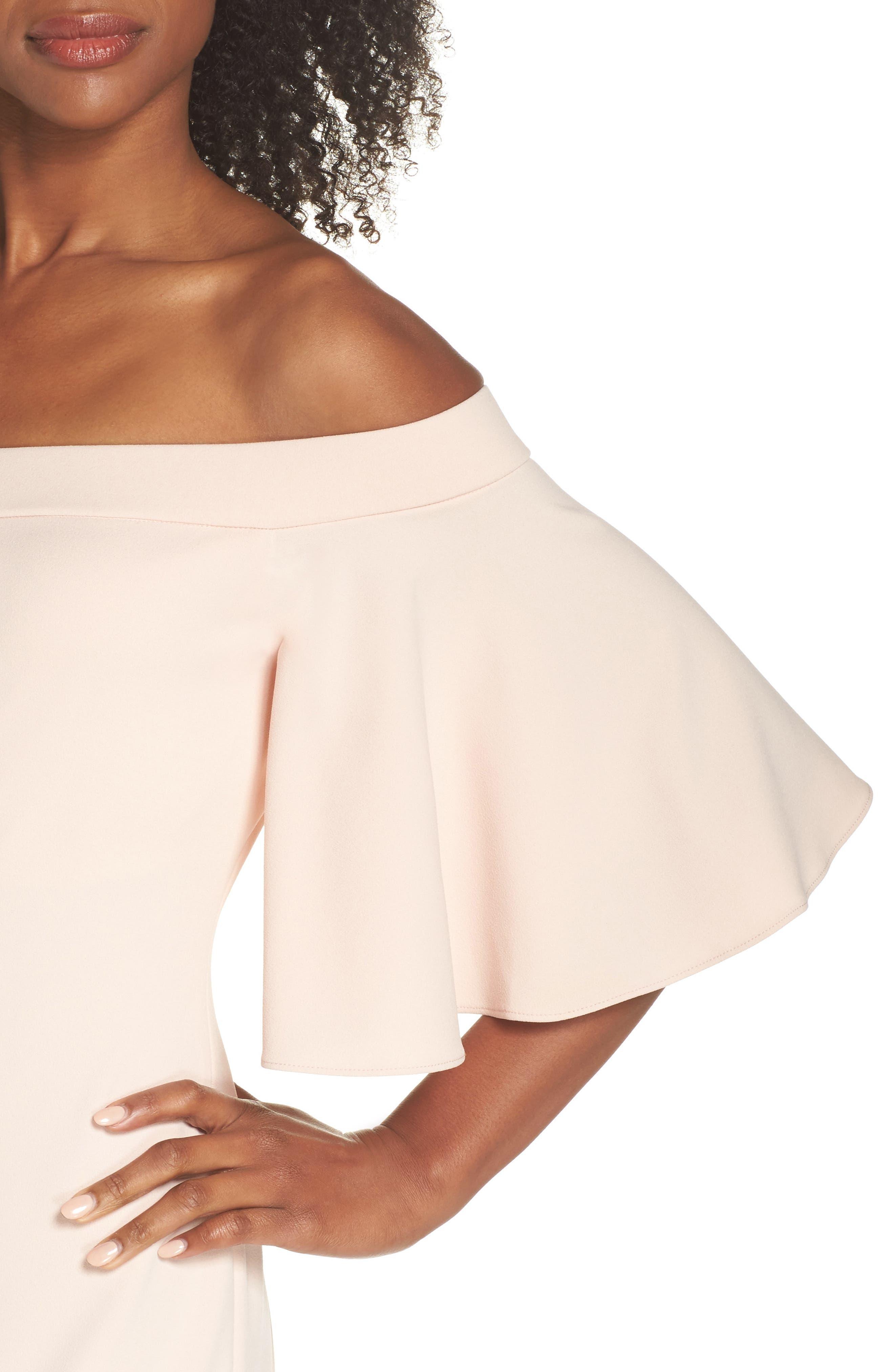 Off the Shoulder Sheath Dress,                             Alternate thumbnail 4, color,                             BLUSH