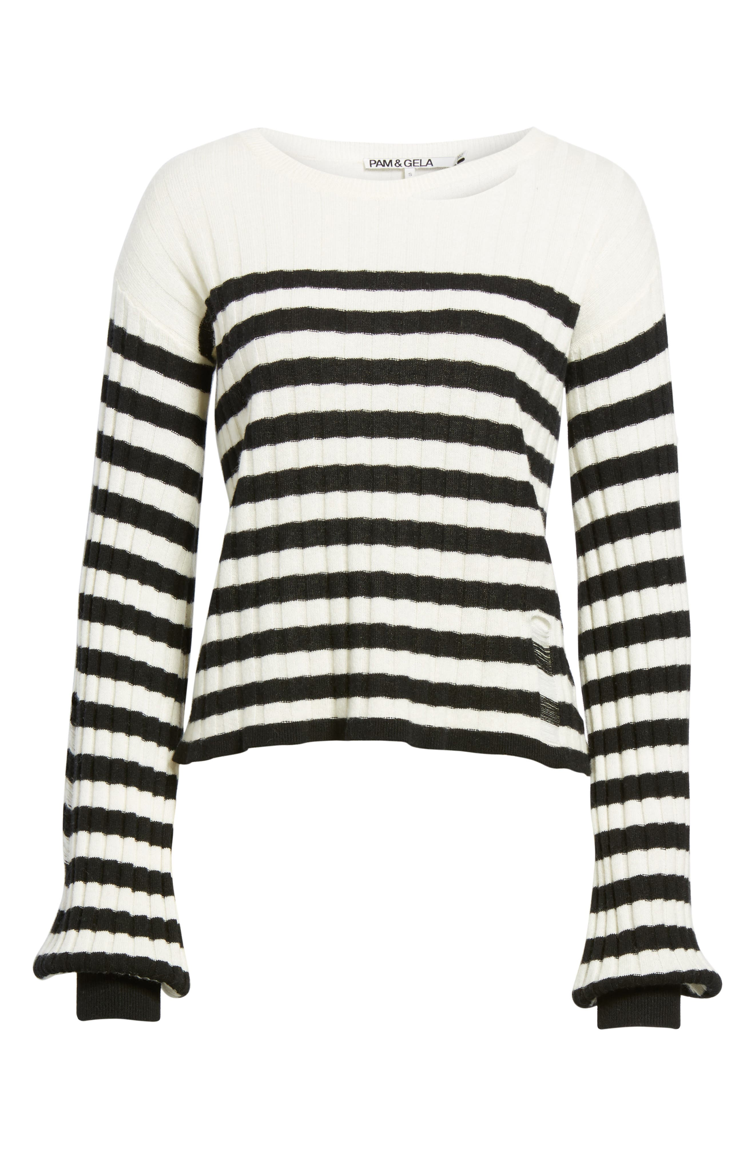 Destroyed Stripe Sweater,                             Alternate thumbnail 6, color,                             004