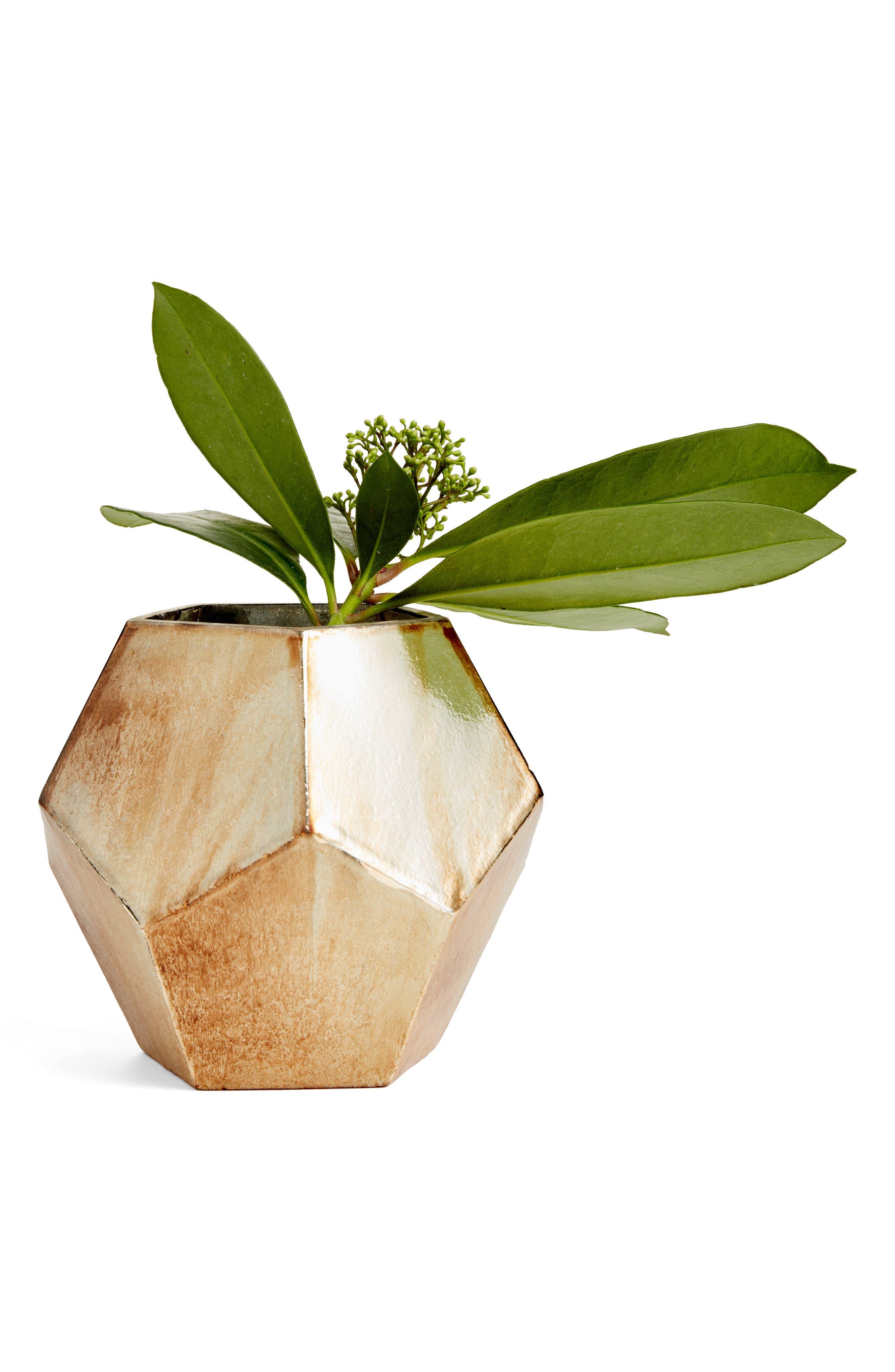 TREASURE & BOND Small Geo Metallic Glass Vase, Main, color, GOLD