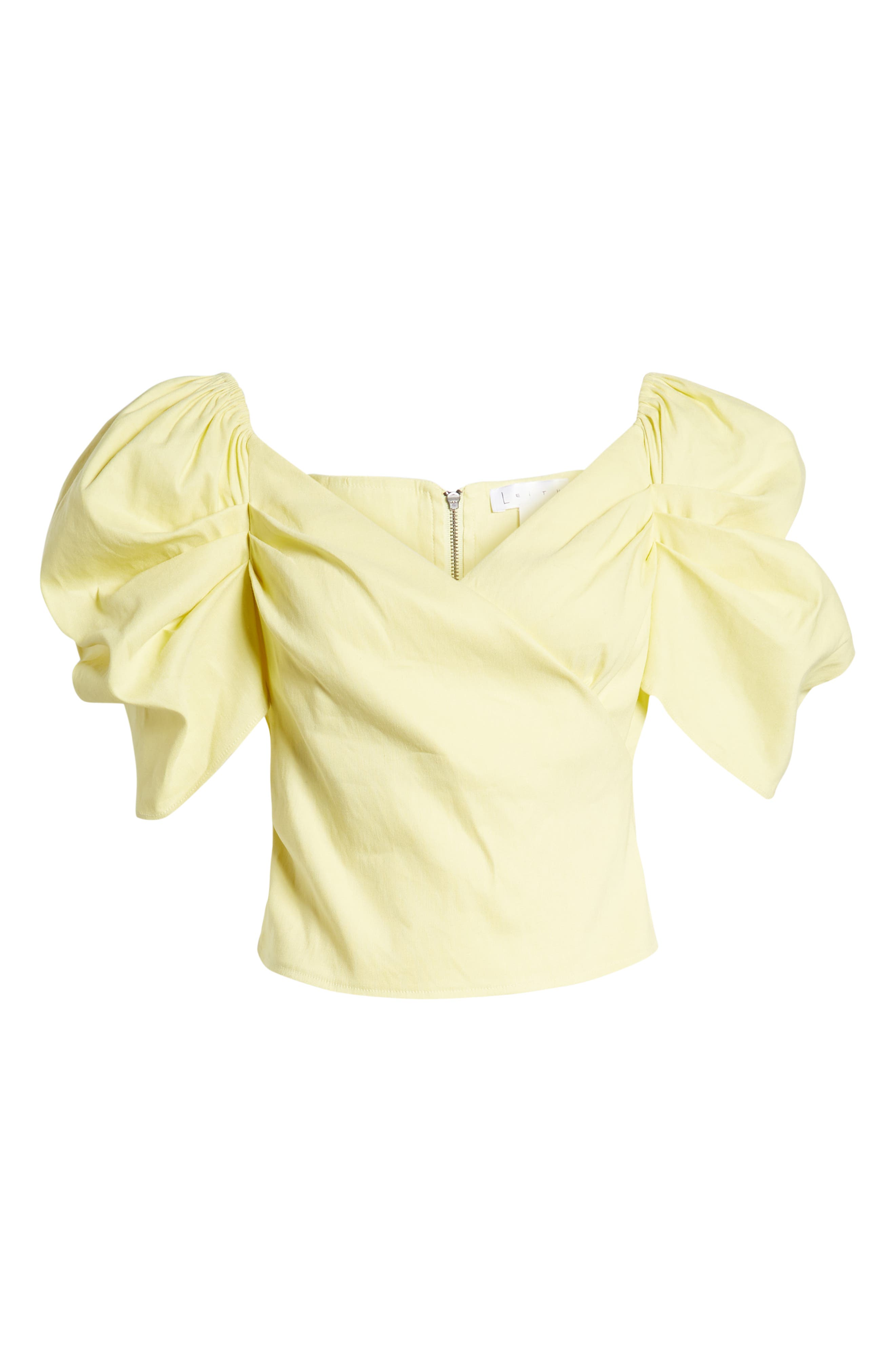 Off the Shoulder Top,                             Alternate thumbnail 7, color,                             YELLOW CANARY